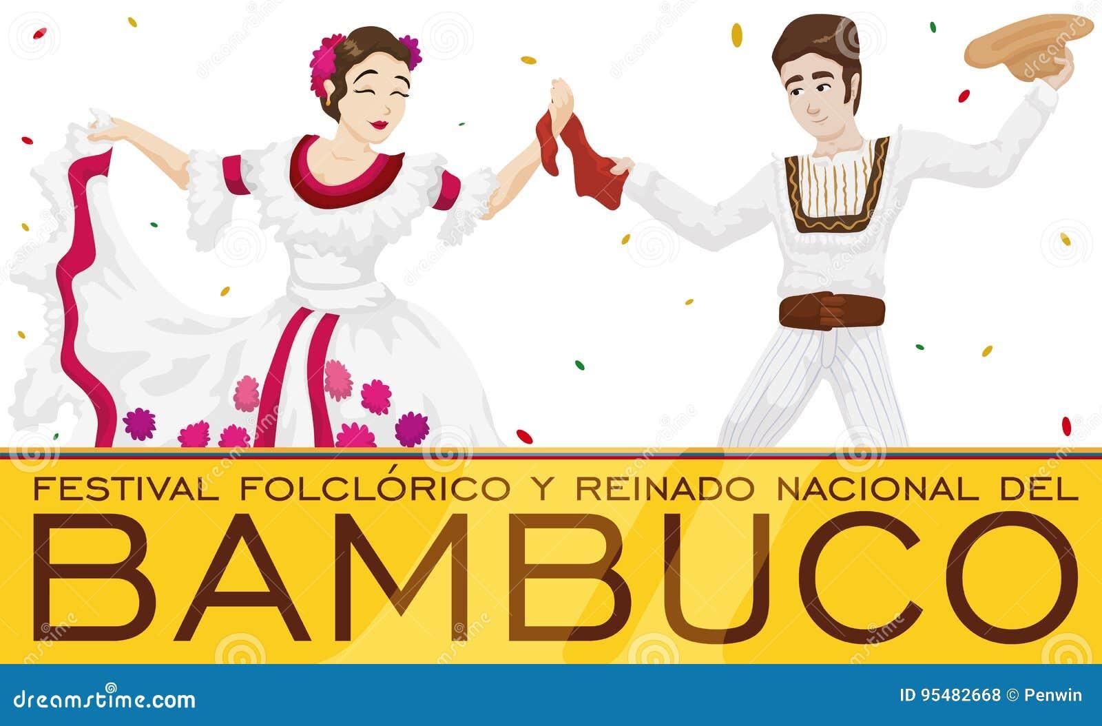 Tradycyjni Bambuco tancerze z confetti deszczem dla Kolumbijskiego Ludoznawczego festiwalu, Wektorowa ilustracja