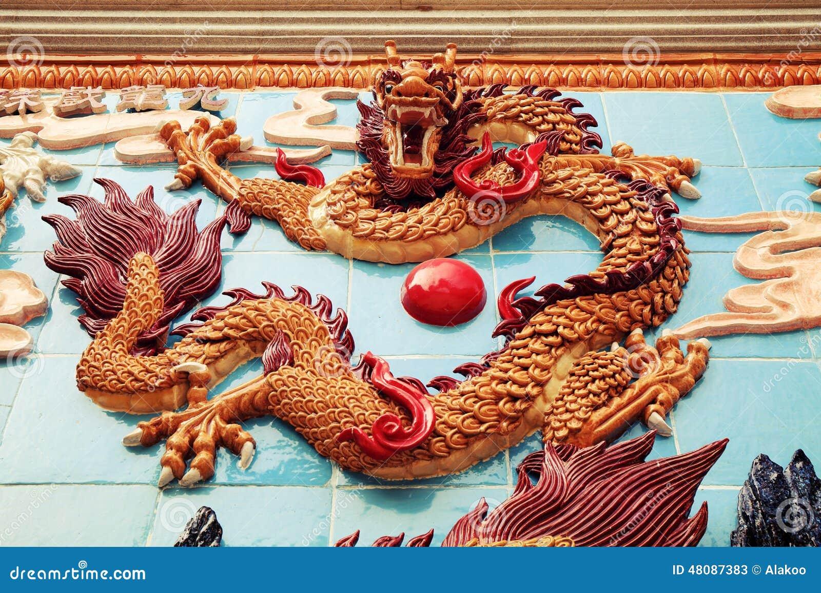 Tradycyjni Chińskie smoka ściana, Azjatycka klasyczna smok rzeźba