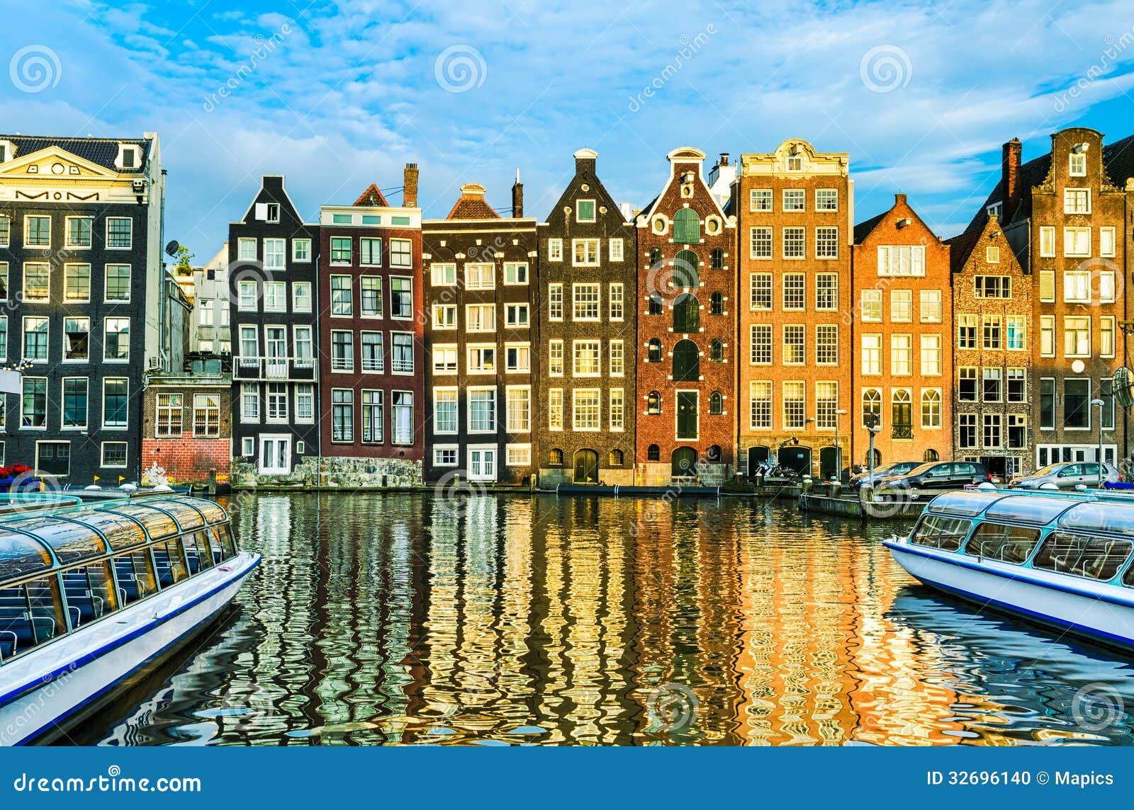 Tradycyjni domy Amsterdam, holandie