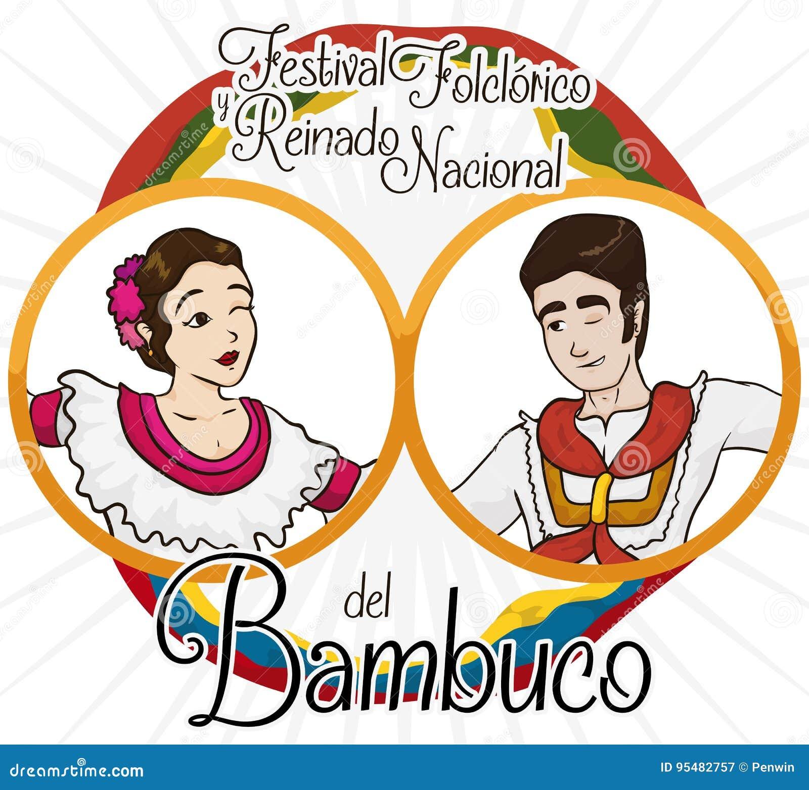 Tradycyjni Kolumbijscy Bambuco tancerze, flaga dla Ludoznawczego festiwalu wydarzenia i, Wektorowa ilustracja