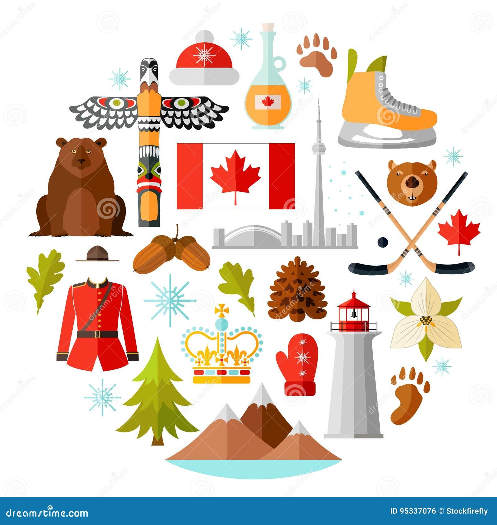 Tradycyjni krajowi symbole Kanada Set Kanadyjskie ikony Wektorowa ilustracja w mieszkanie stylu