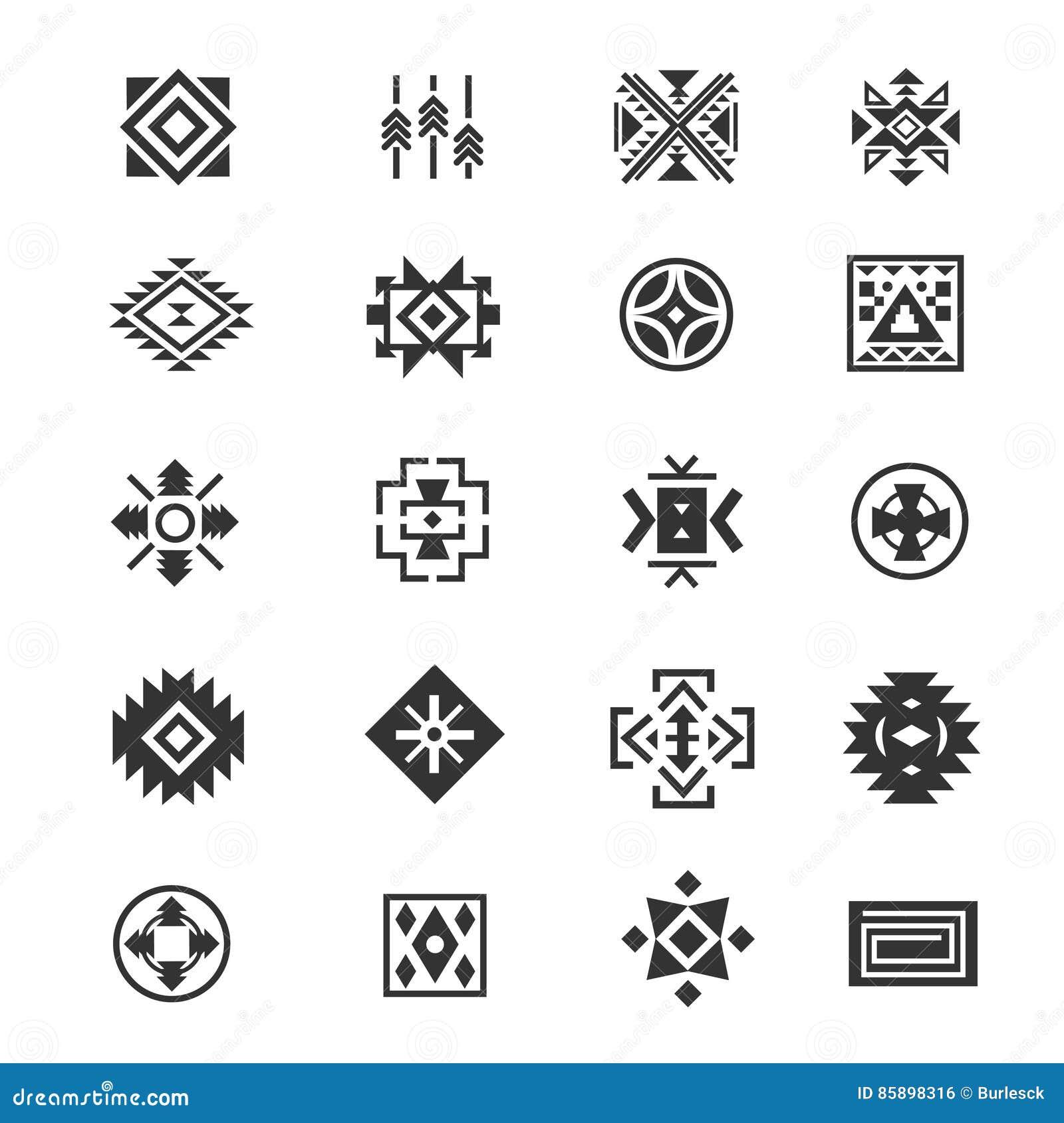 Tradycyjni plemienni meksykańscy symbole Navajo etnicznej kultury tatuażu wektorowe ikony dla druku
