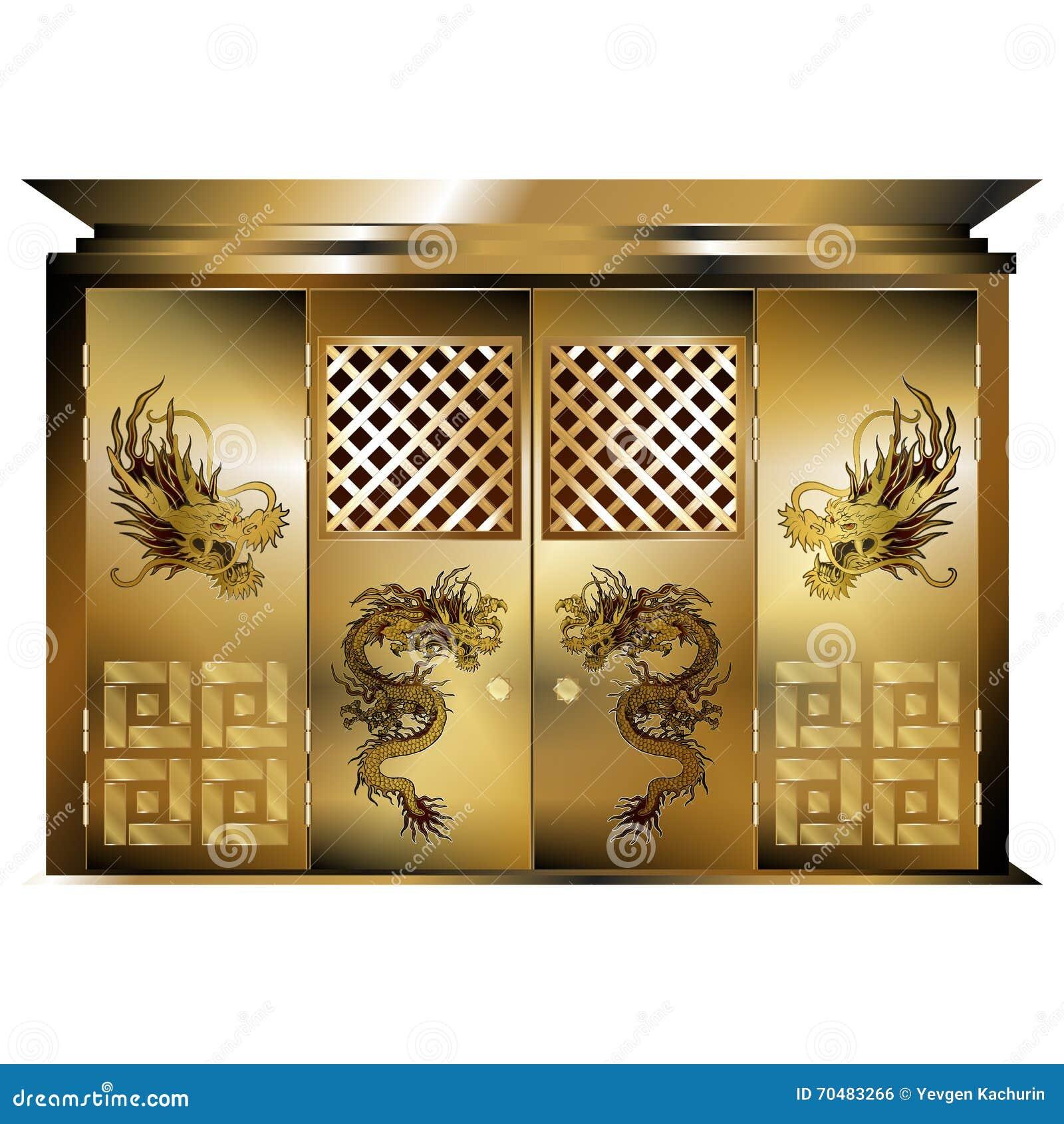 Tradycyjni wschodni bramy złota smoki