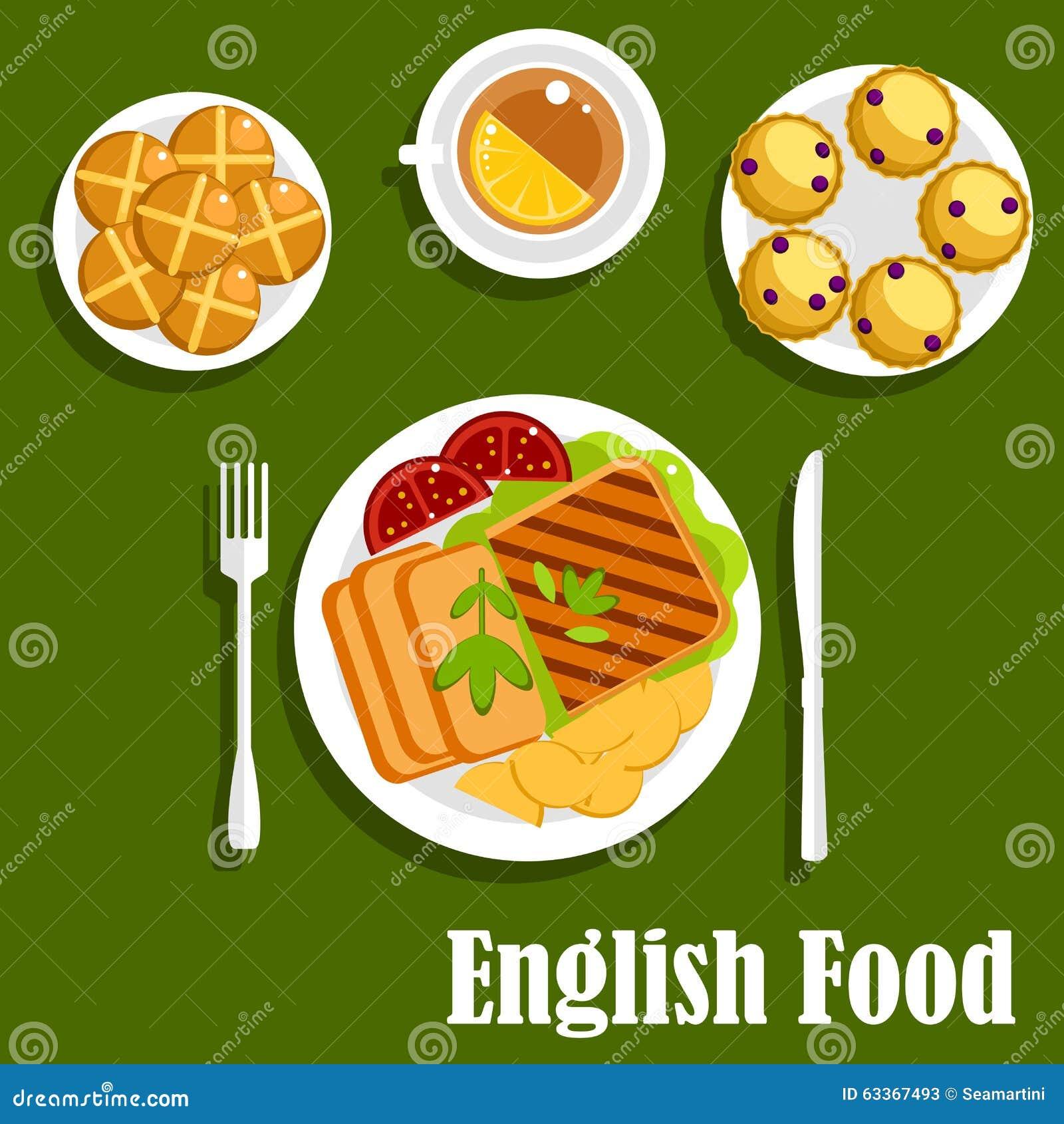 Tradycyjny Angielski Kuchnia Lunchu Jedzenie Ilustracja