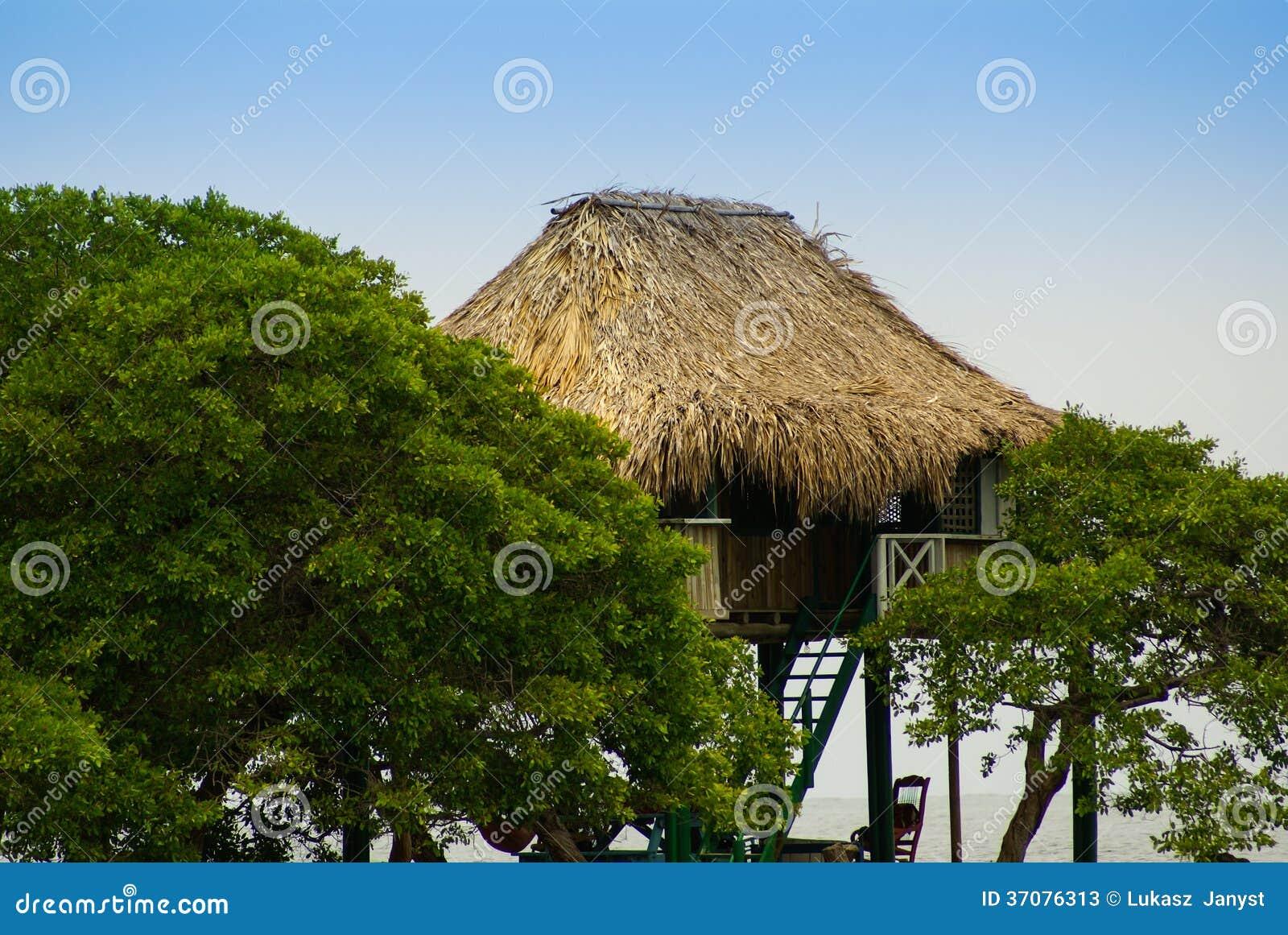 Download Tradycyjny Dom W Wyspie Mucura, Kolumbia Obraz Stock - Obraz złożonej z plaża, atlantic: 37076313