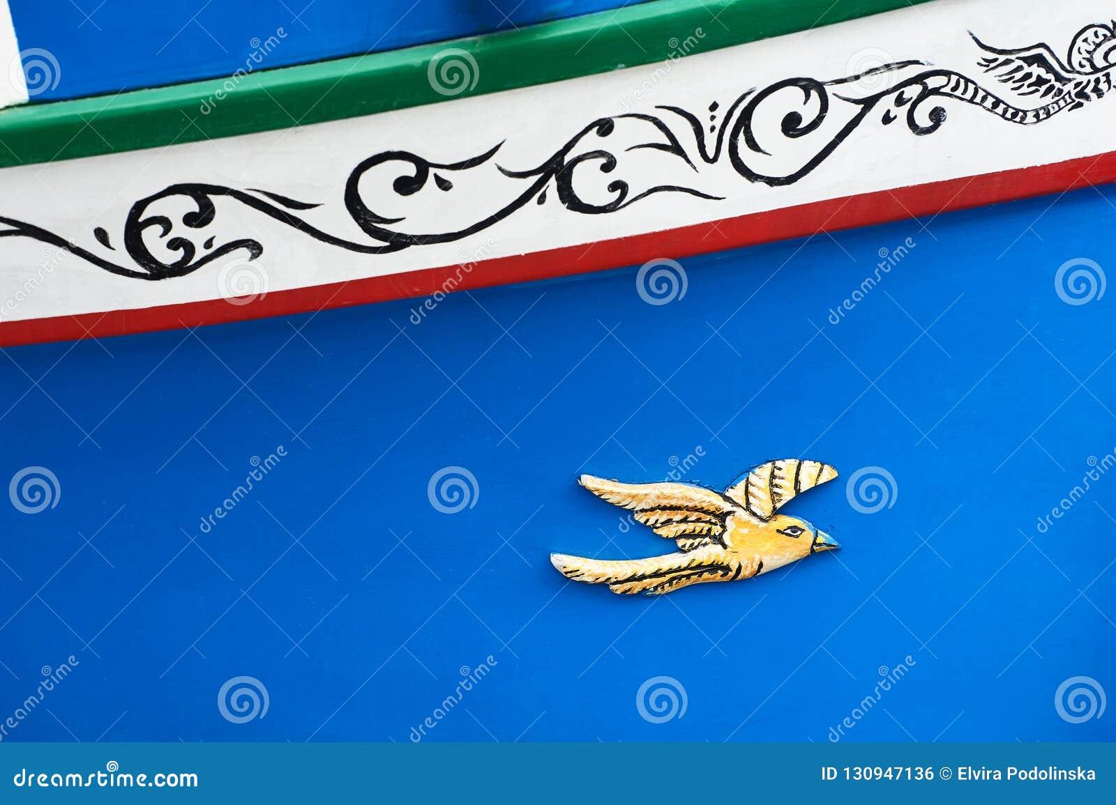 Tradycyjny maltese łódkowaty luzzu szczegół