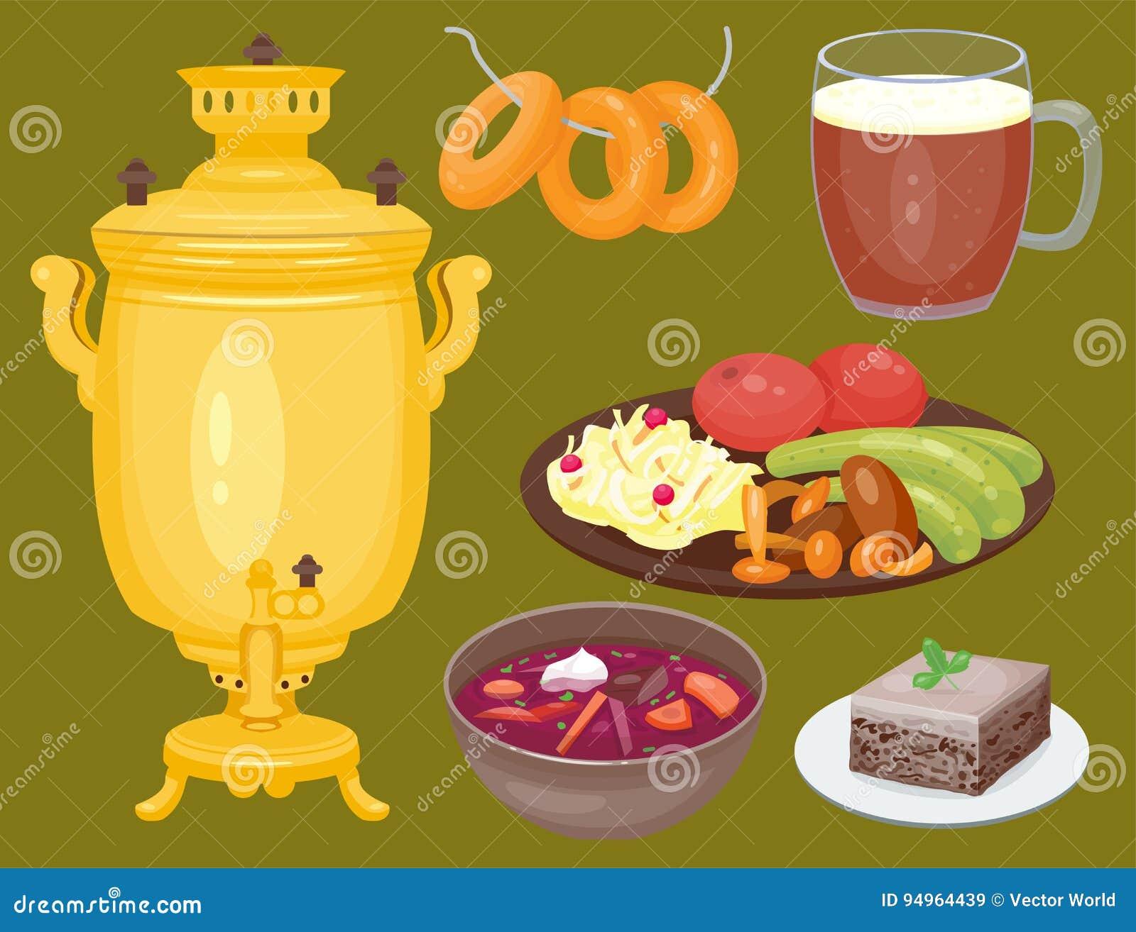 Tradycyjny Rosyjski kuchni kultury naczynia jedzenia kursowy powitanie Rosja posiłku wektoru wyśmienita krajowa ilustracja
