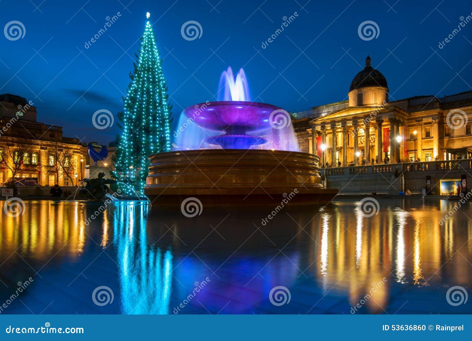 trafalgar platz weihnachten in london england stockfoto bild 53636860. Black Bedroom Furniture Sets. Home Design Ideas