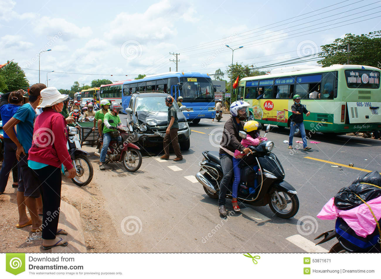 Traffic Accident, Crashed Car, Motorbike Editorial Photo