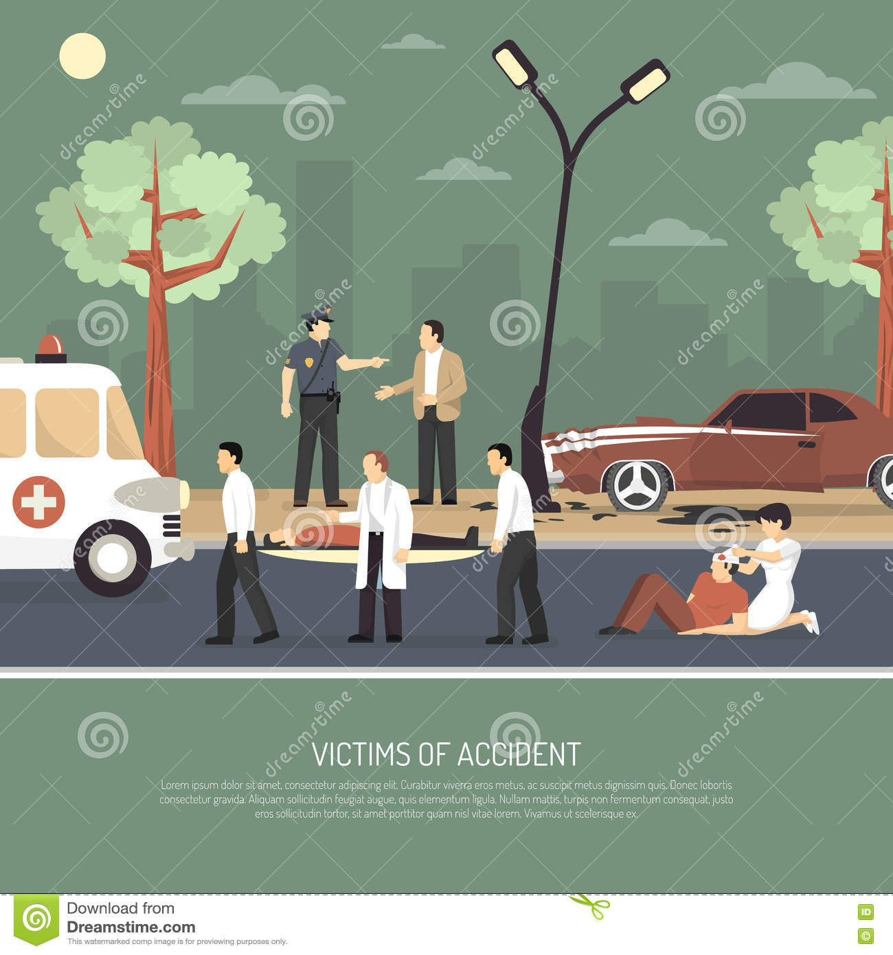 Traffic Accident First Aid Flat Poster Stock Vector - Illustration ...