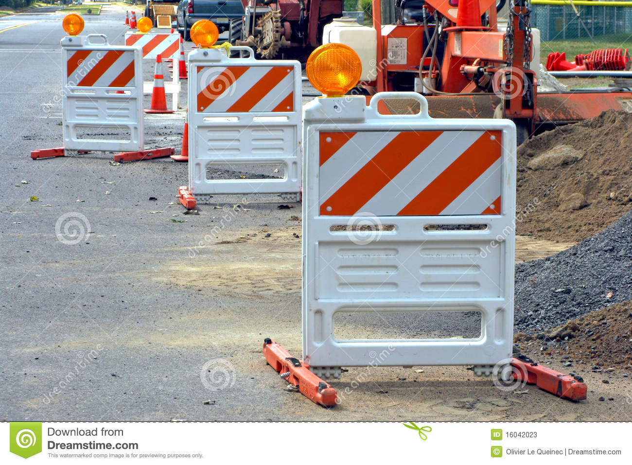 Traffic barriers at road construction work site stock