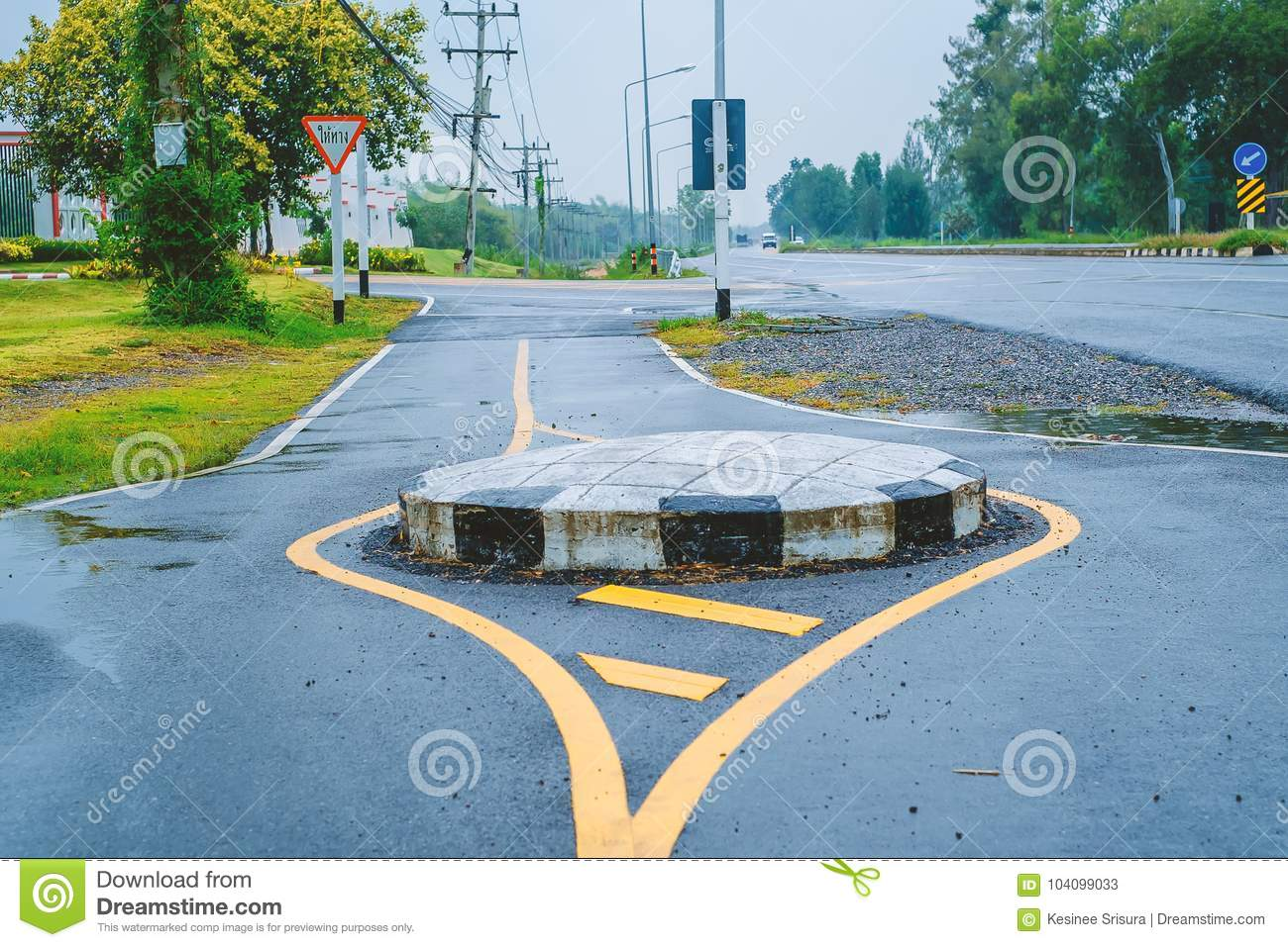 Traffic Circle On The Road, A Junction Which Traffic Moves