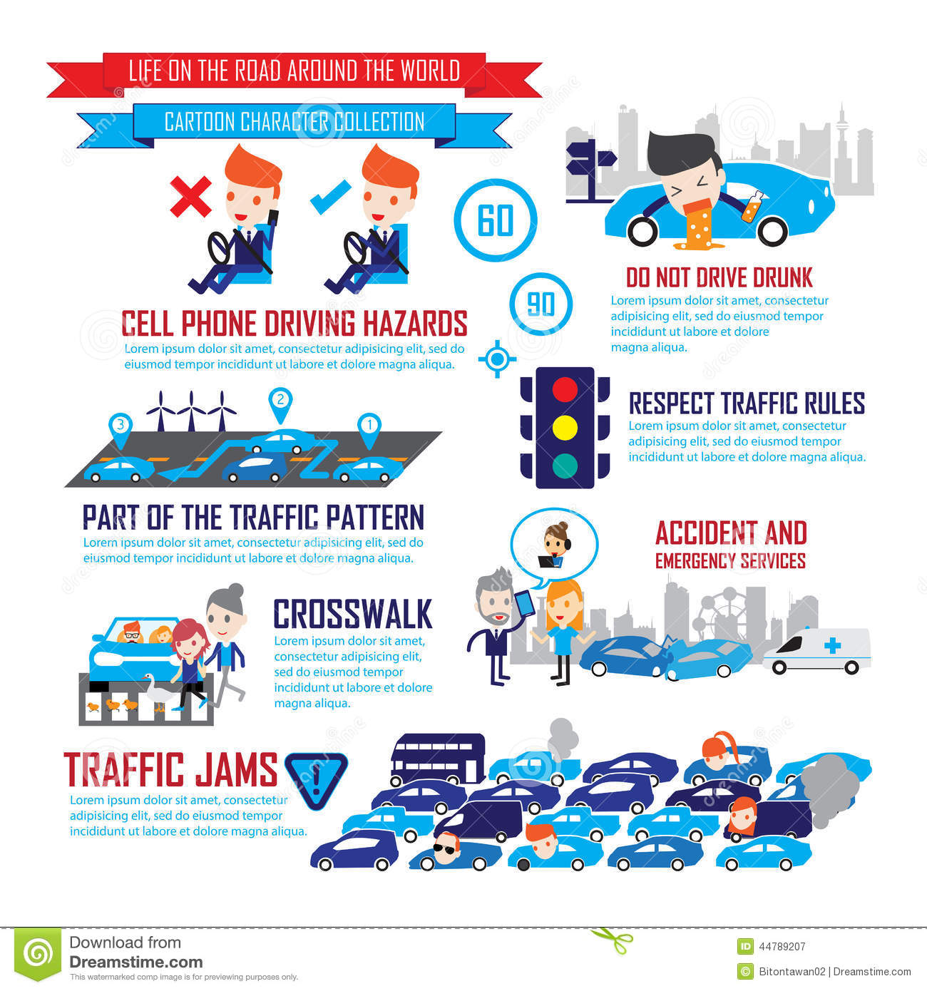 Traffic In The City,Cartoon Characters Infographic Stock