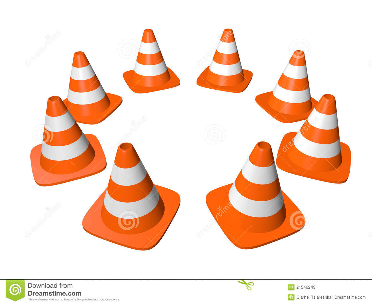 Traffic Cones In Circle Isolated On White Stock Photos