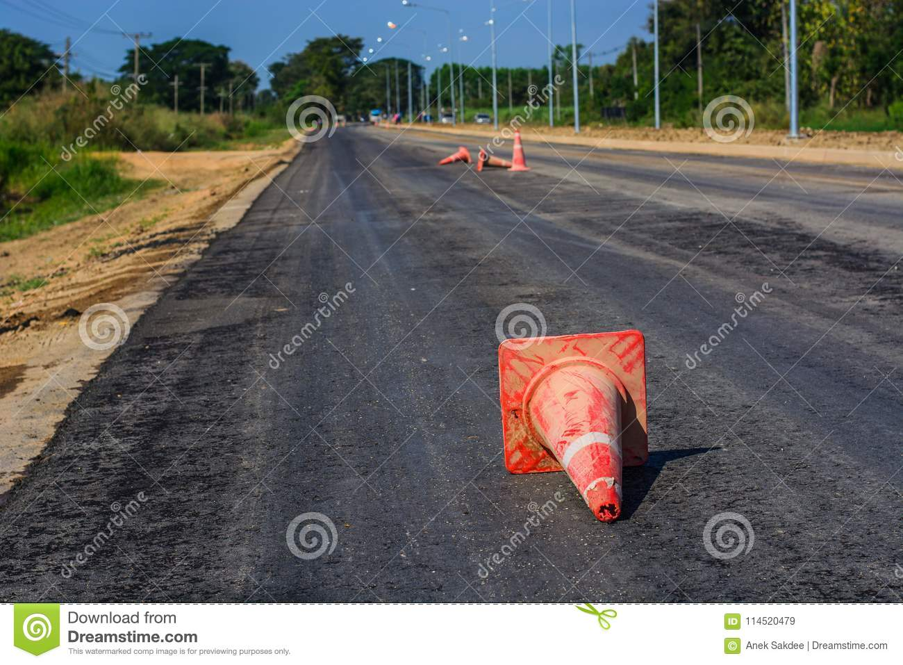 Traffic cones on country road
