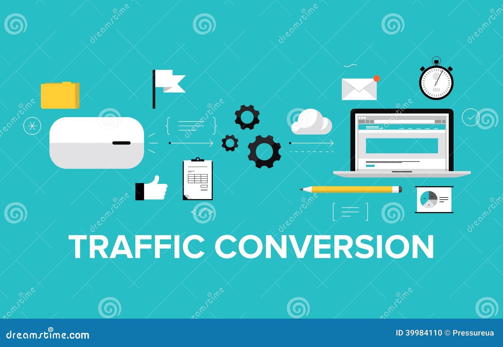 Vector Illustration Web Designs: Traffic Conversion Flat Illustration Concept Stock Vector