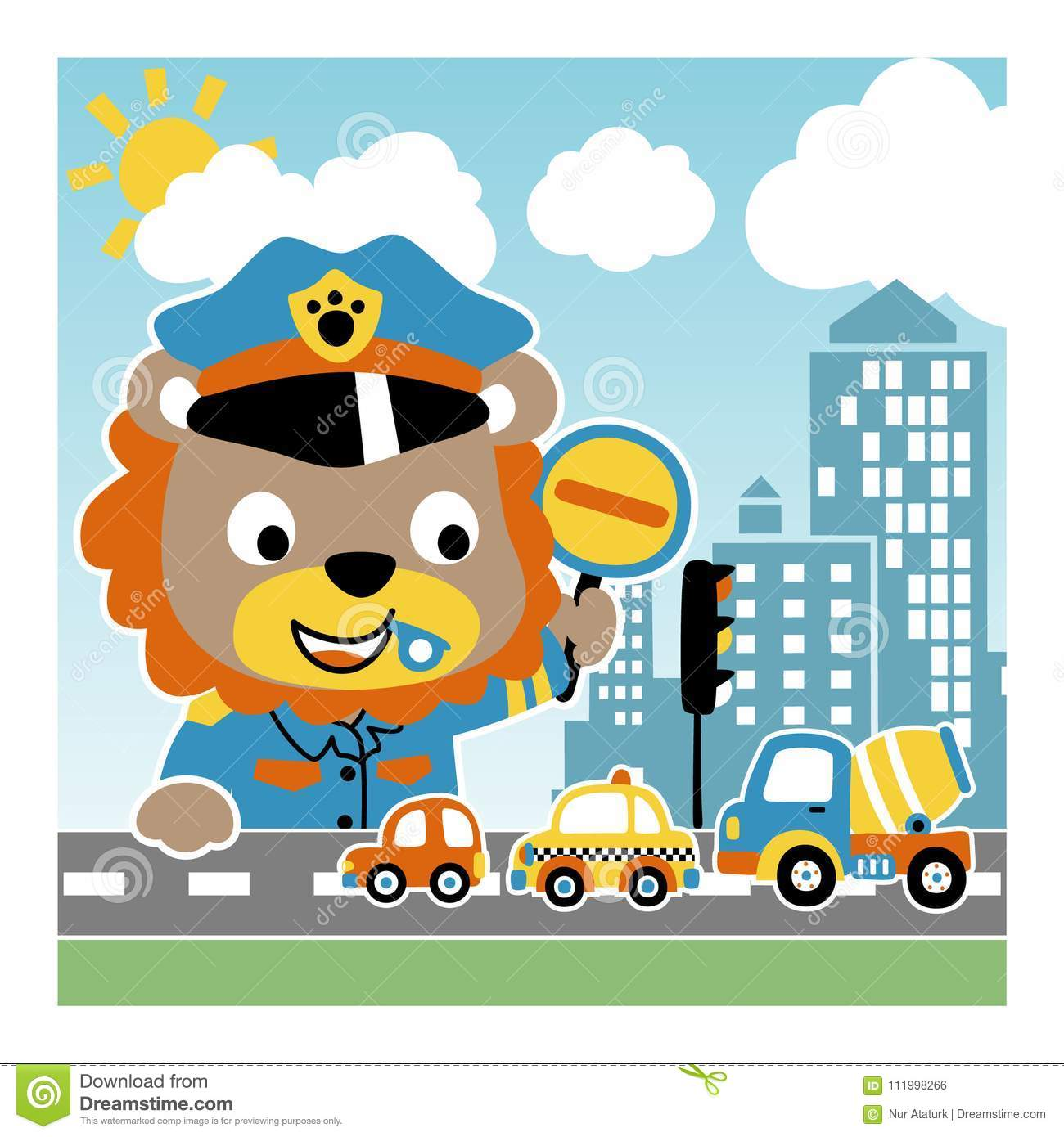 Lion The Funny Traffic Cop Stock Vector. Illustration Of