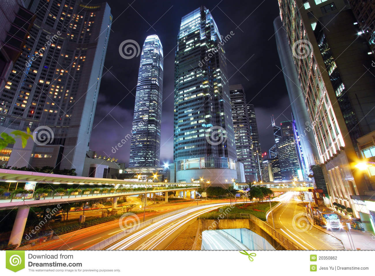 Download Traffic Through Downtown Of Hong Kong At Night Stock Photo - Image of hong, background: 20350862