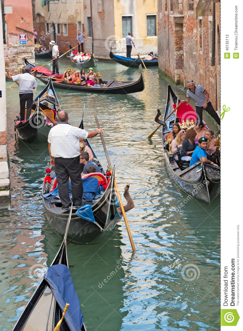 Venice Full Face Black Mirror Mask: Traffic Of Gondolas In Venetian Canal, Italy Editorial