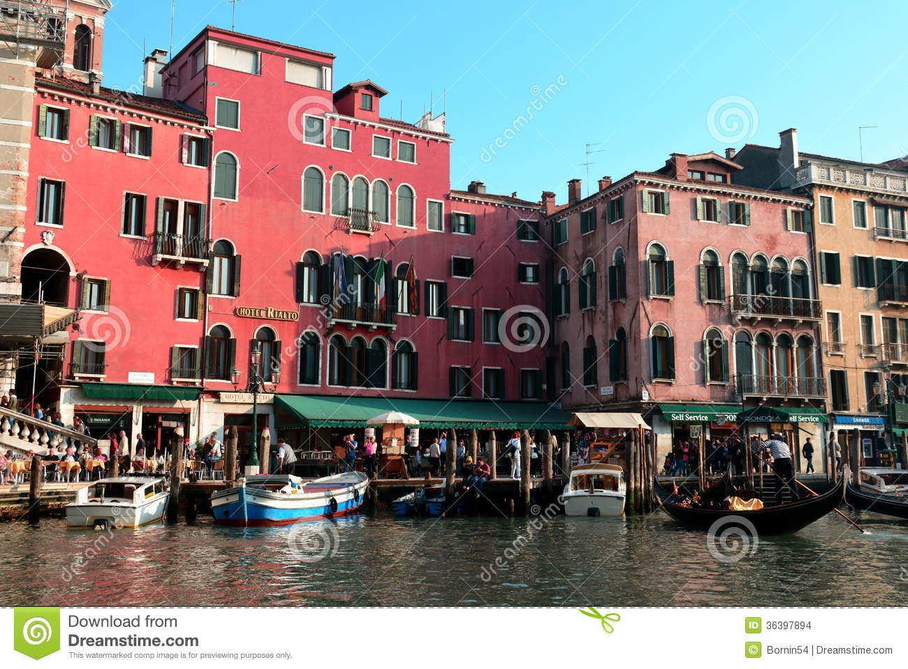 Traffic On The Grande Canal Venice Italy Editorial Stock