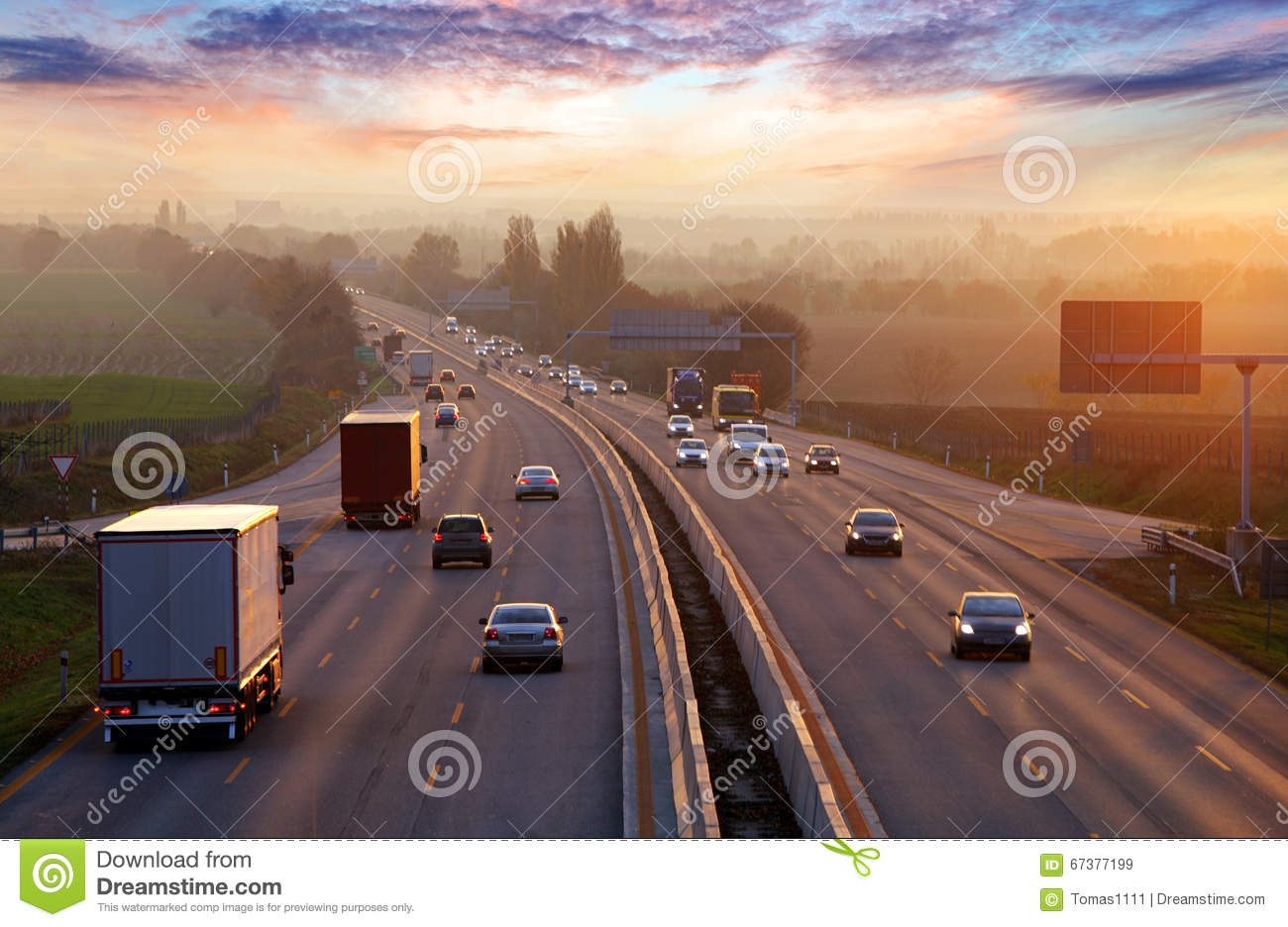 Traffic on highway with cars