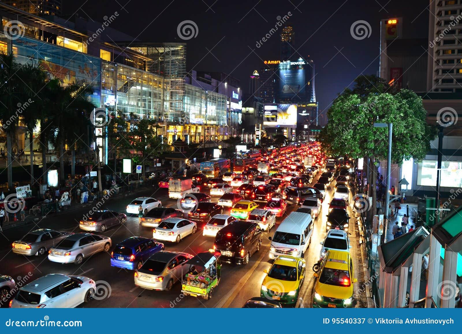 Traffic jam in Bangkok editorial photography  Image of asian