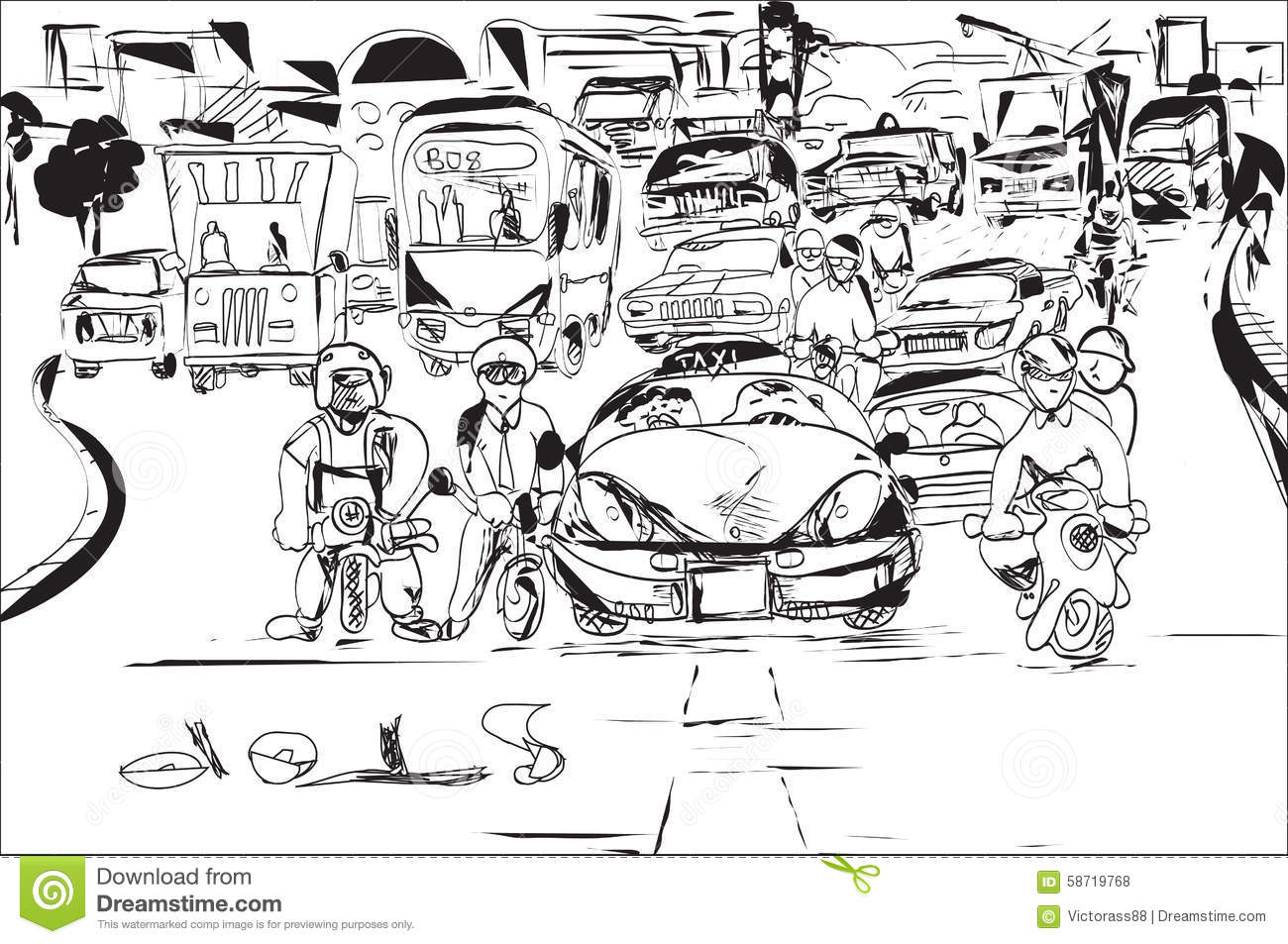 the outline of traffic jam The blue car is making a detour round the cars stuck in a traffic jam  $4 city street intersection traffic jams road 3d black lines outline contour style very.