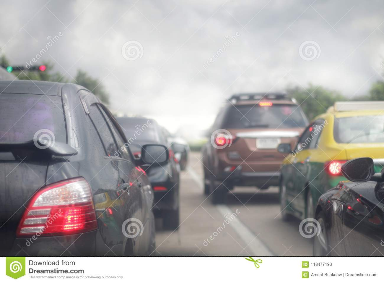Traffic jam of cars, smog pollution on the road, blur picture