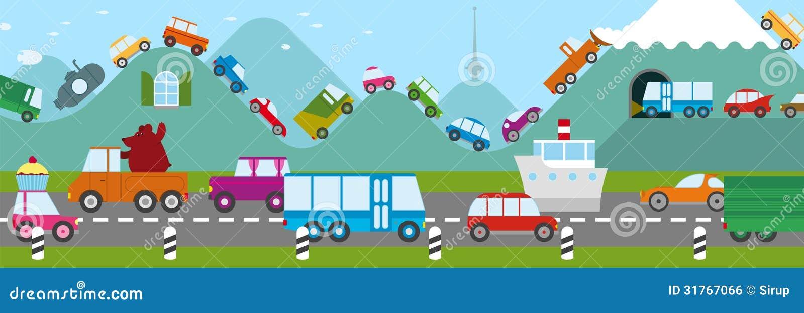 Drive A Car On Freeway Cartoon