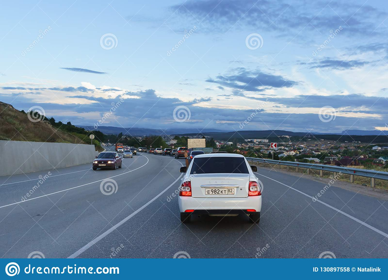 Traffic Jam In The Evening Rush Hour On The Bypass Road
