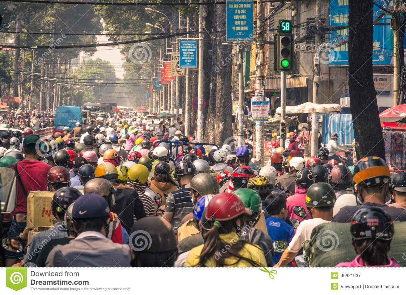 Sustainable Houses Traffic Jam In Ho Chi Minh City Vietnam Editorial