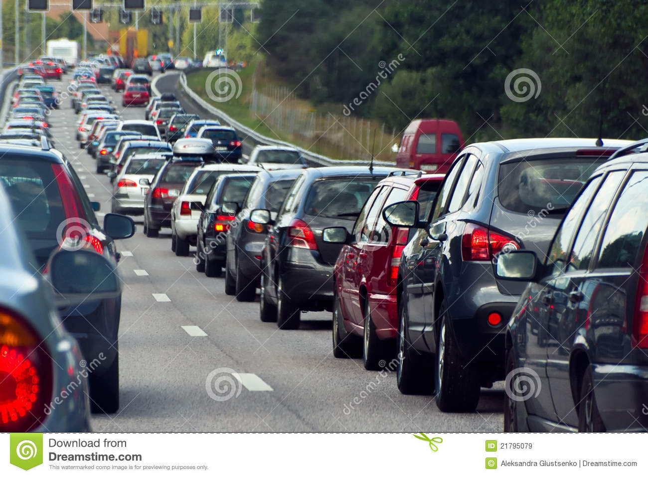 A Traffic Jam With Rows Of Cars Stock Image - Image of gasoline ...