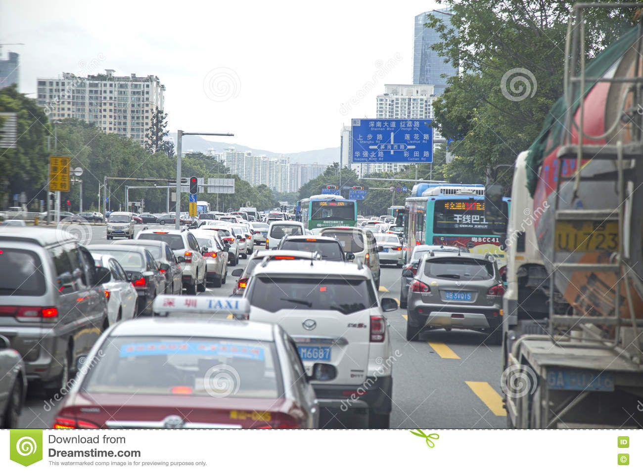 Traffic jam at rush hour on a busy street of Shenzhen, China