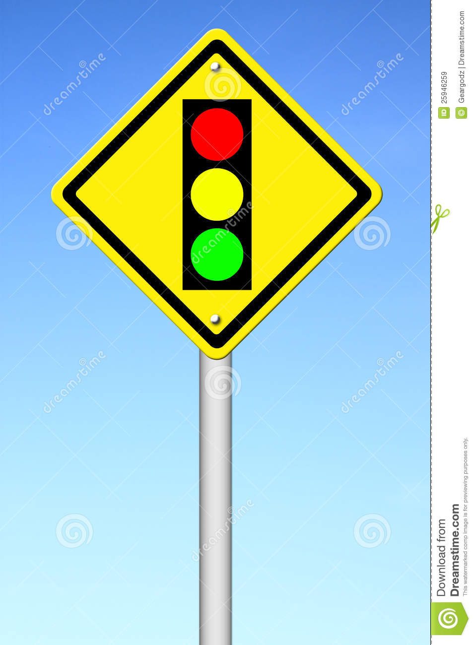 Traffic Light Ahead Warning Sign Royalty Free Stock Images - Image ...