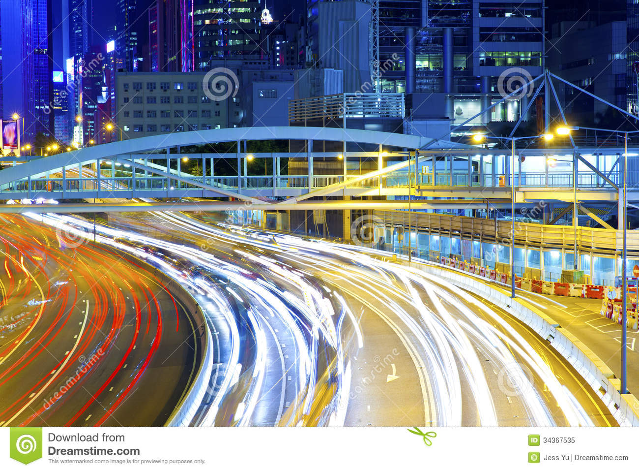 Traffic Light Curving Lines On Road During Rush Hour Stock Image ... for Traffic Light On Road At Night  67qdu