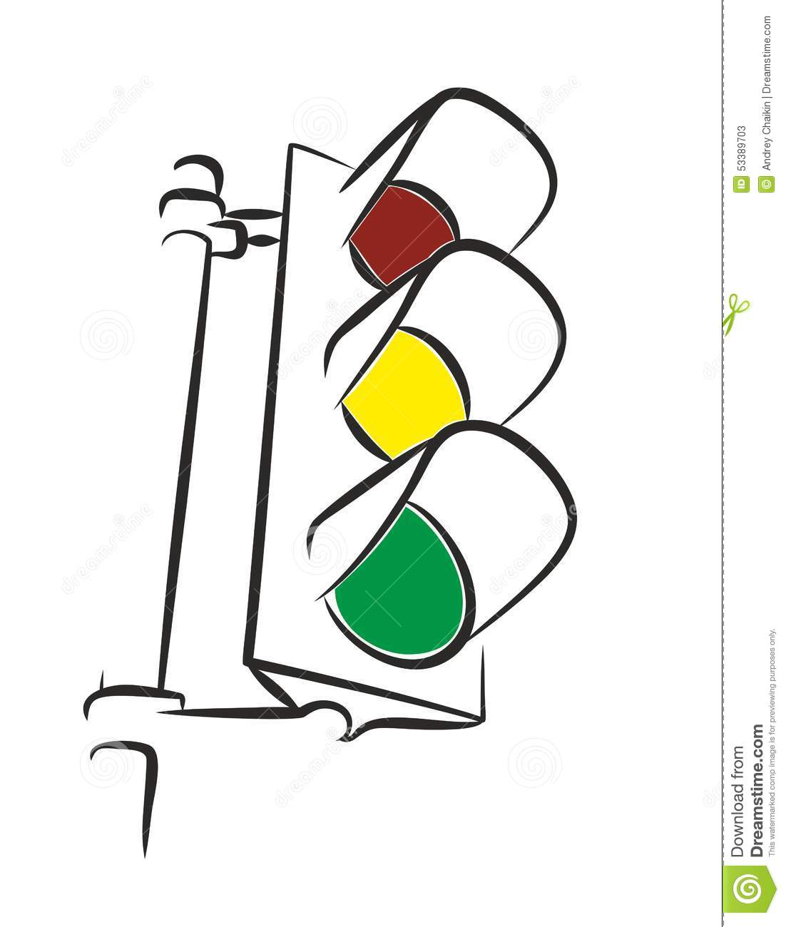 Traffic light. stock vector. Illustration of term, signal - 53389703 for Traffic Light Sketch  589ifm