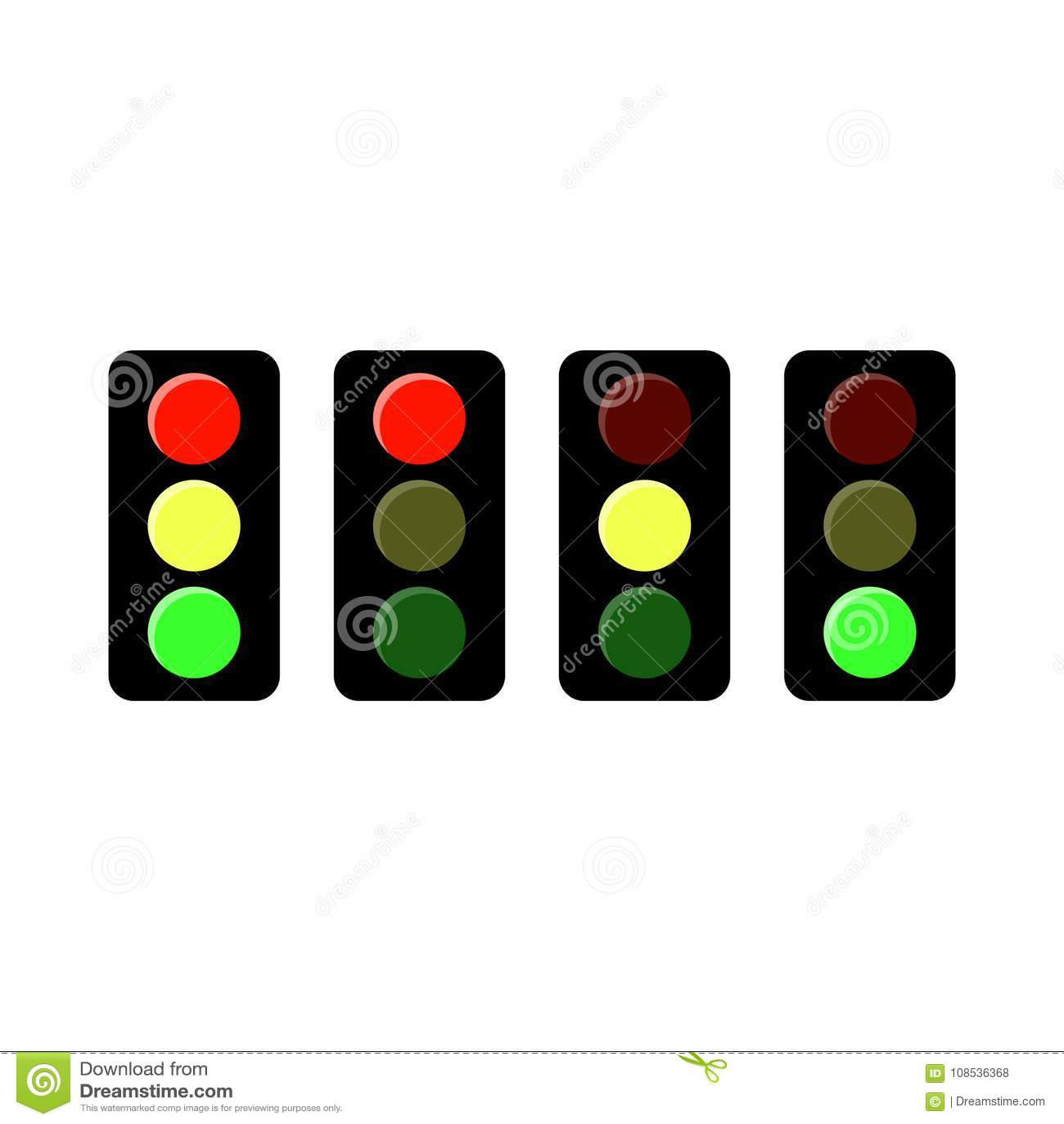 Traffic Light Icon. Three Frame Animation. Stock Vector