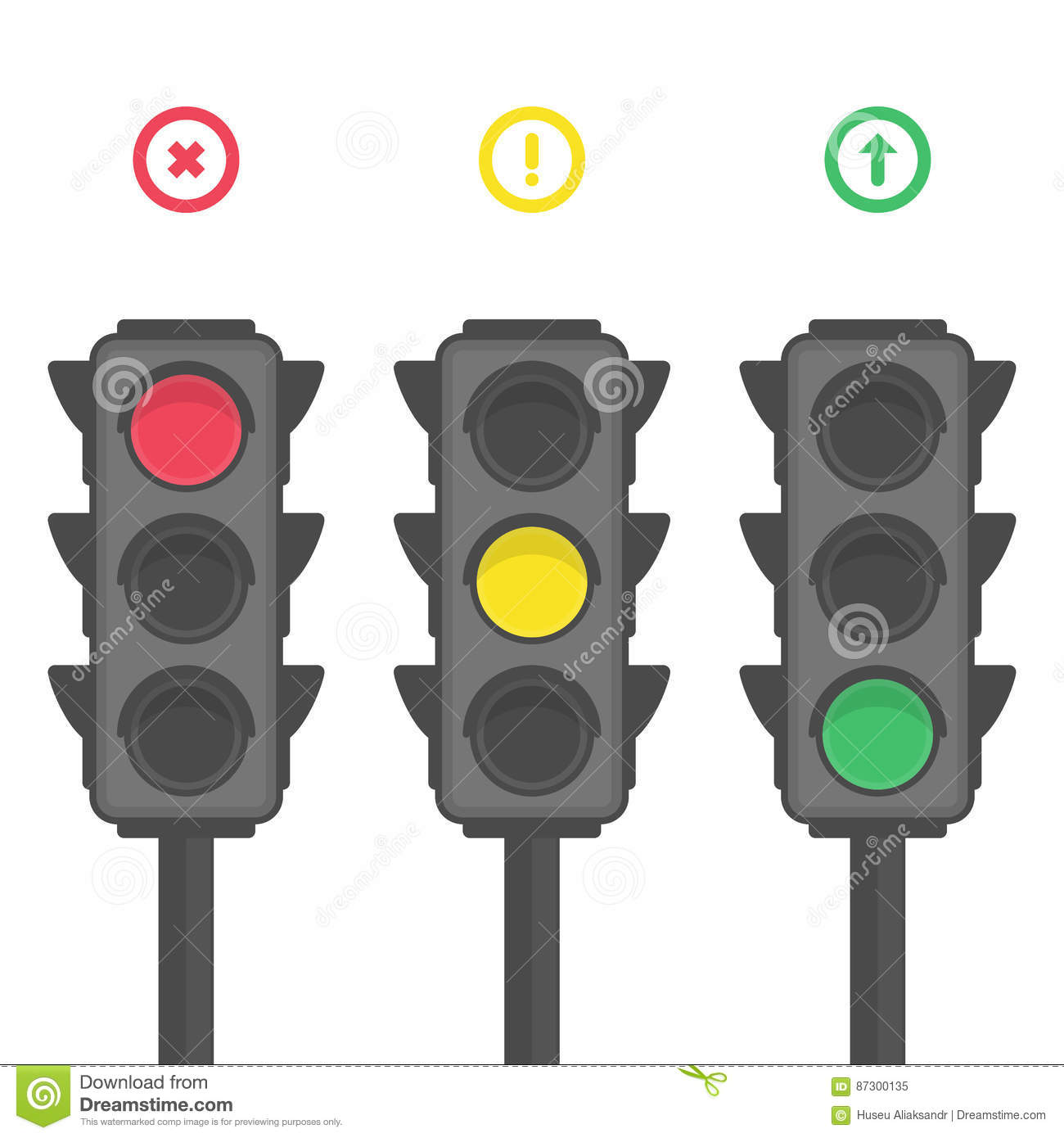 Traffic light icons. stock vector. Illustration of guidance - 87300135 for Traffic Light Yellow Icon  56bof
