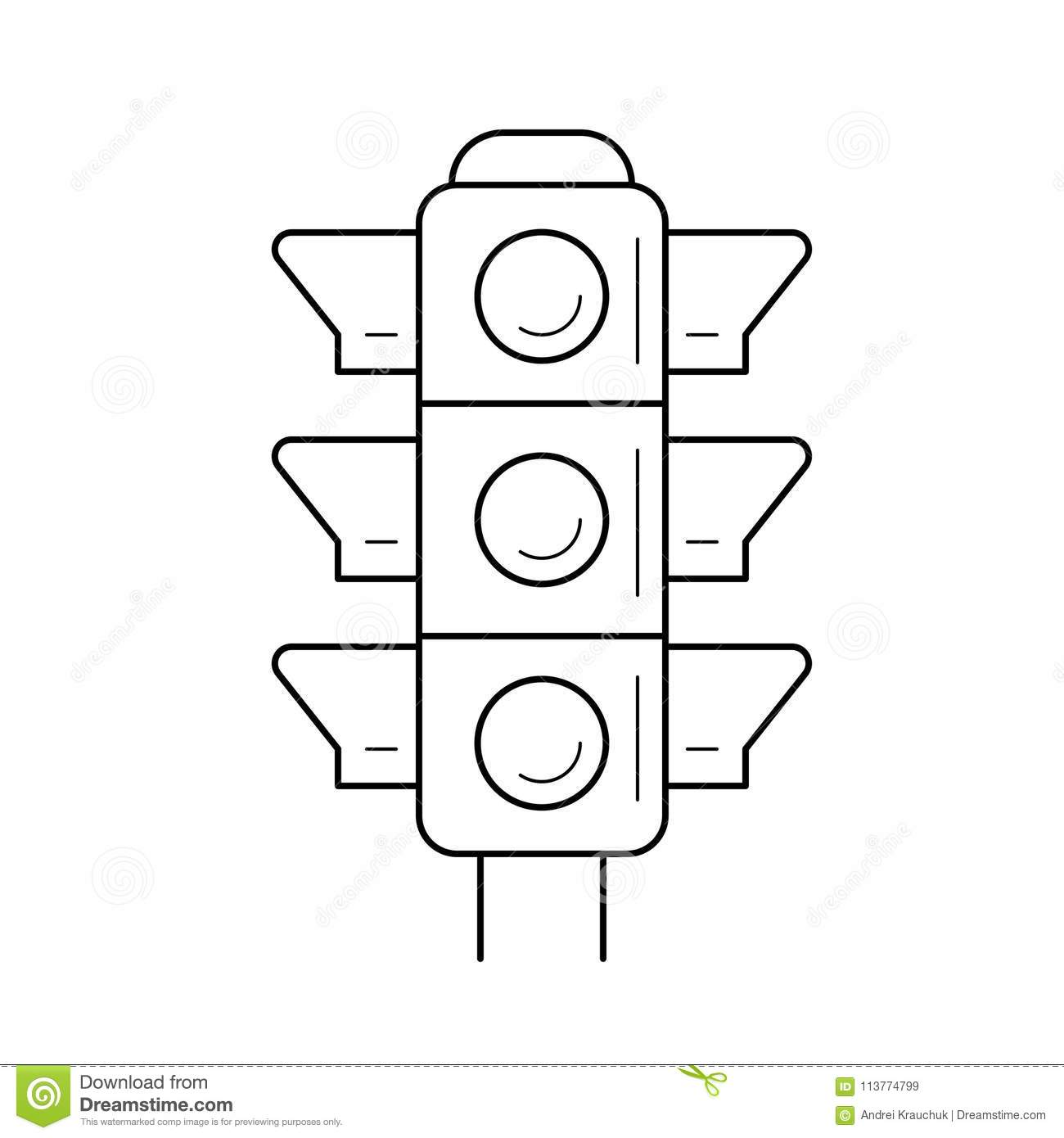 traffic light line icon  stock vector  illustration of