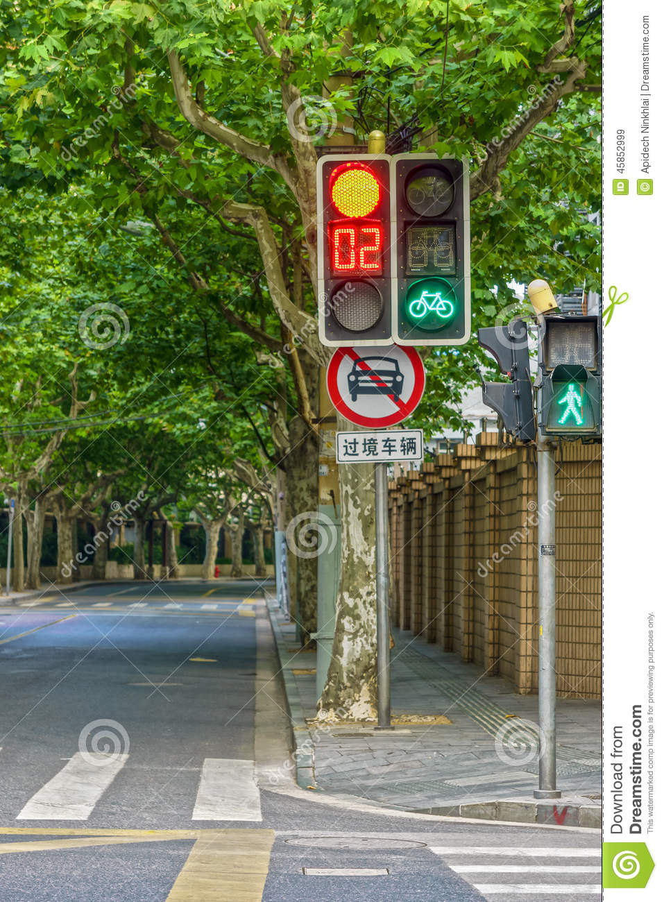 Traffic Light Set And Traffic Road Sign At Intersection