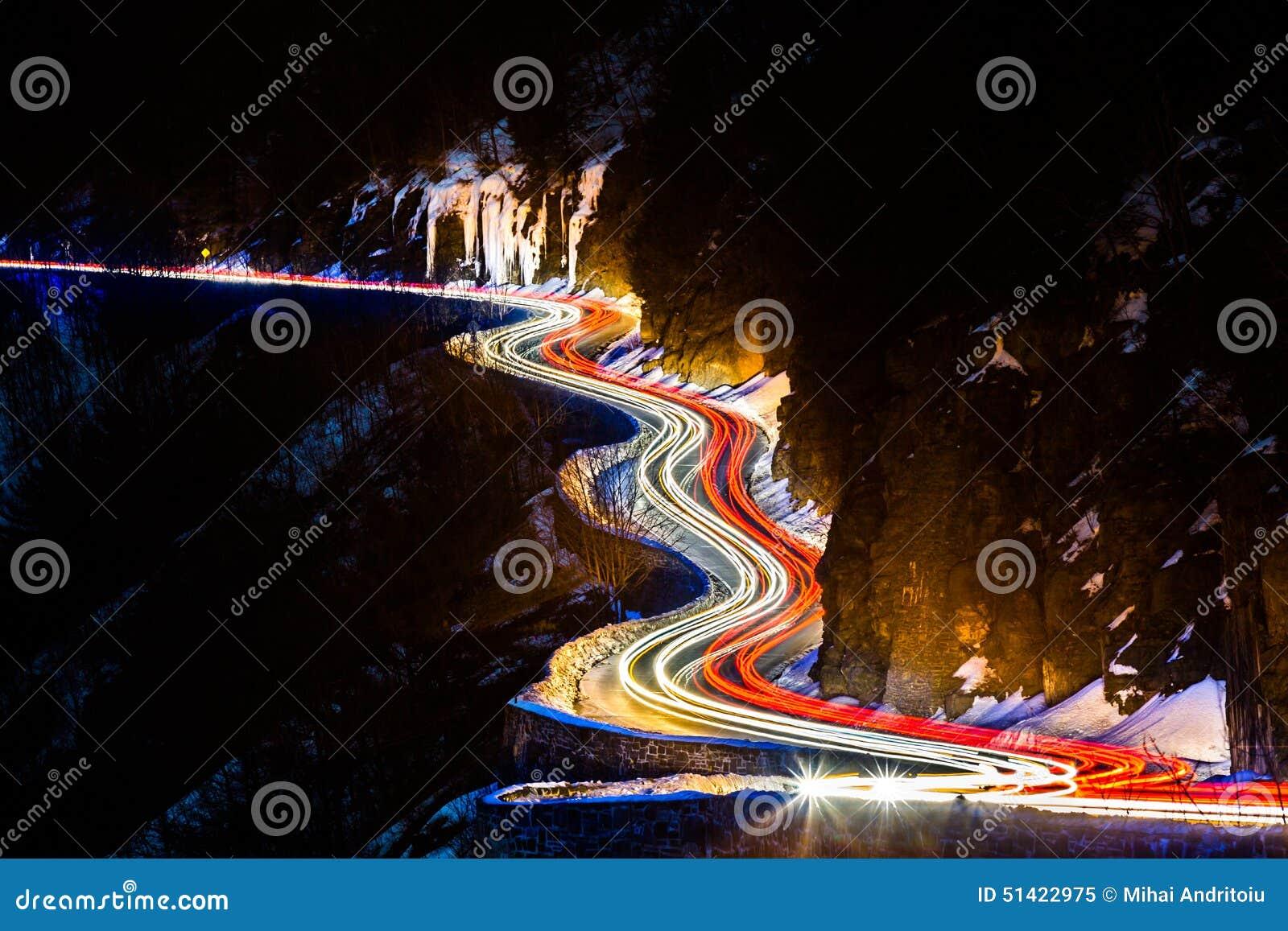 Traffic light trails on the Hawk s Nest winding road
