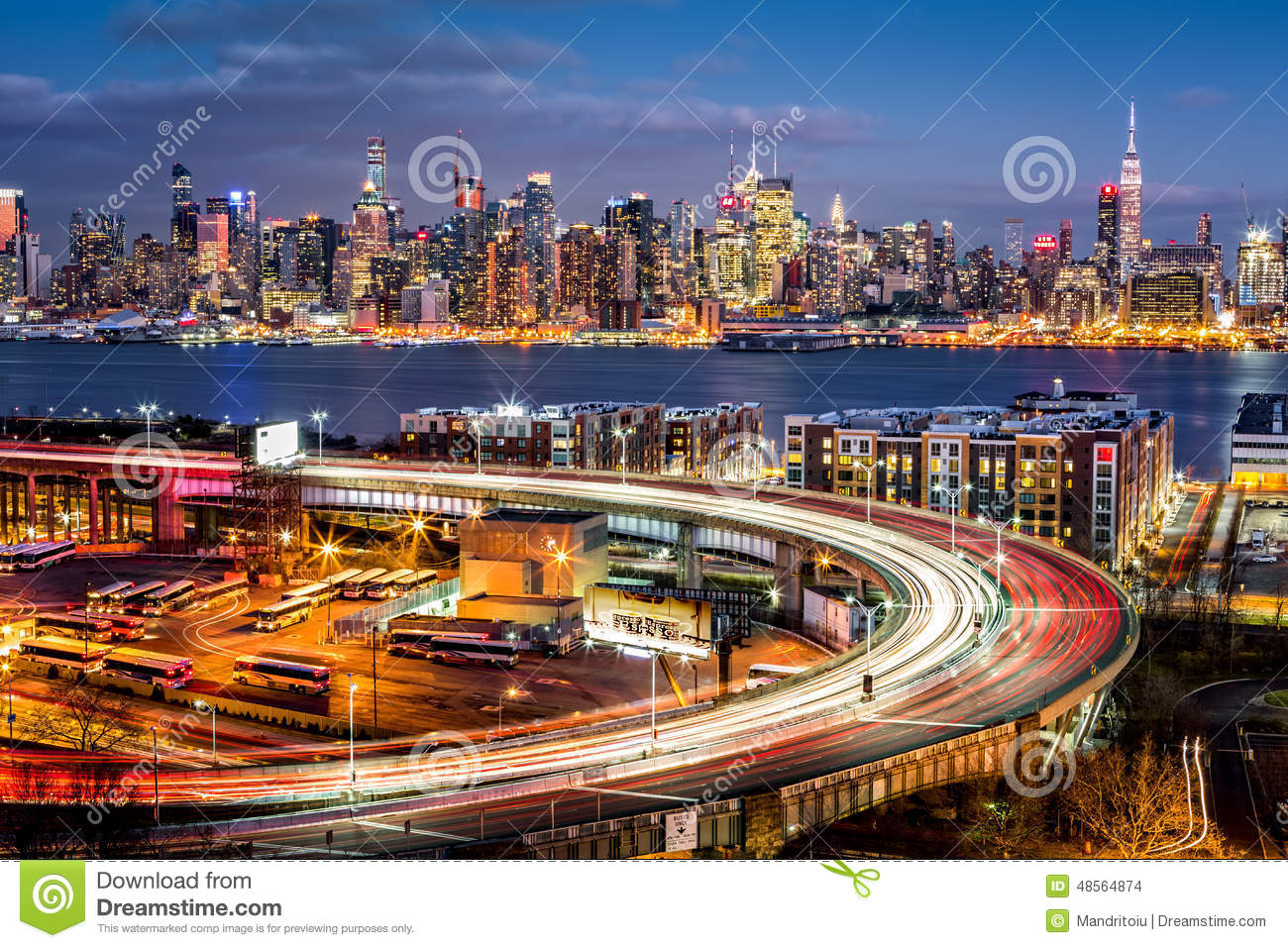 Traffic And Light Trails On The Helix Stock Photo Image