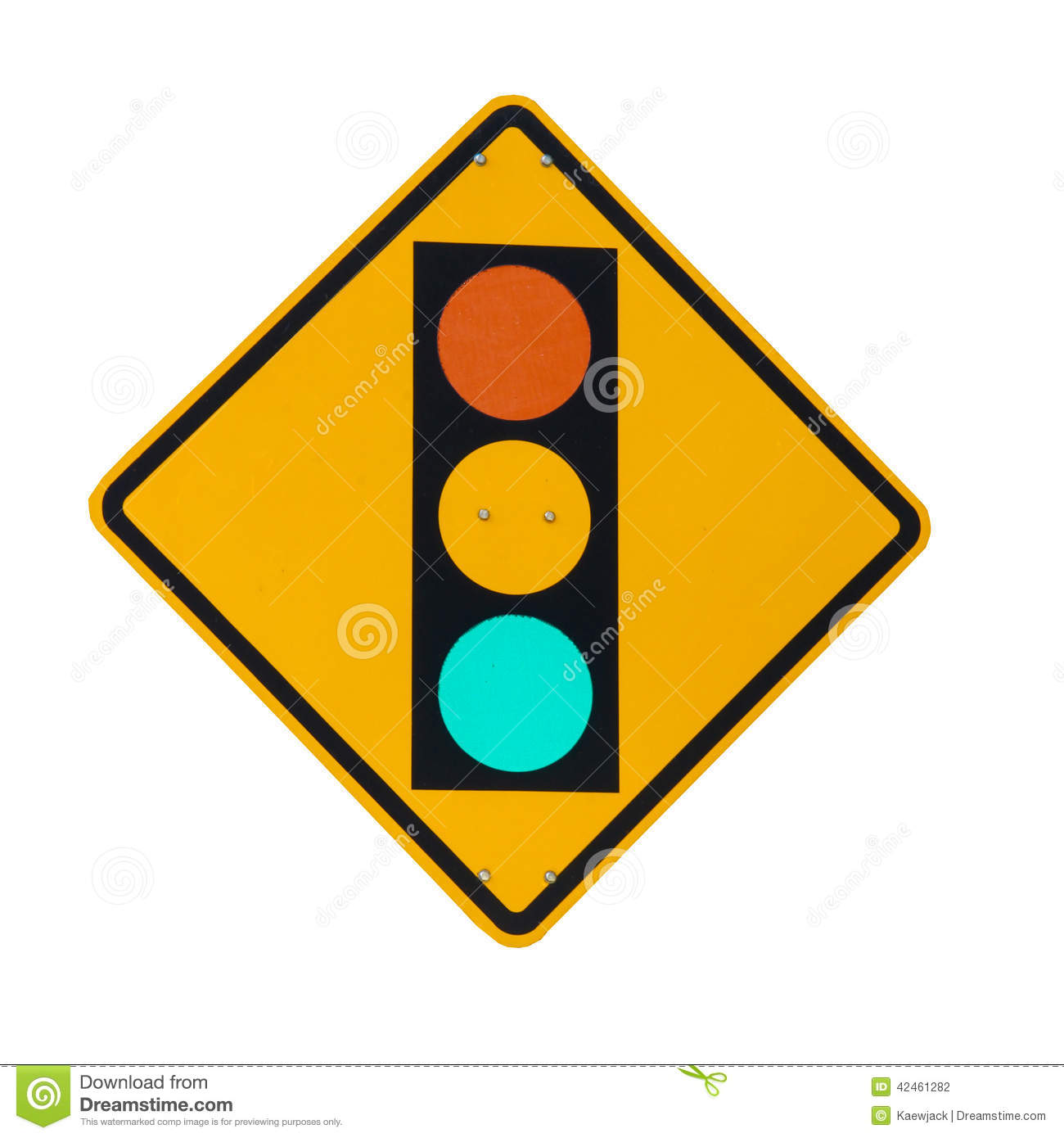 traffic light on yellow sign board isolated on whi stock