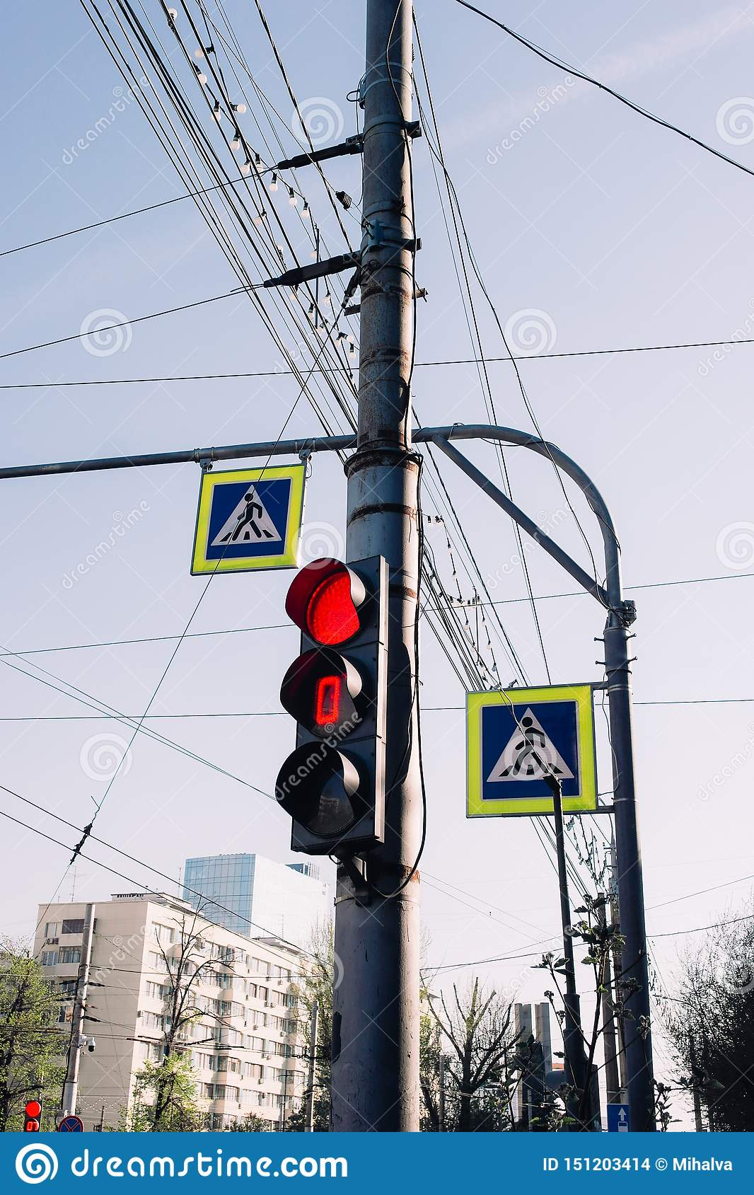 The traffic lights and street signs