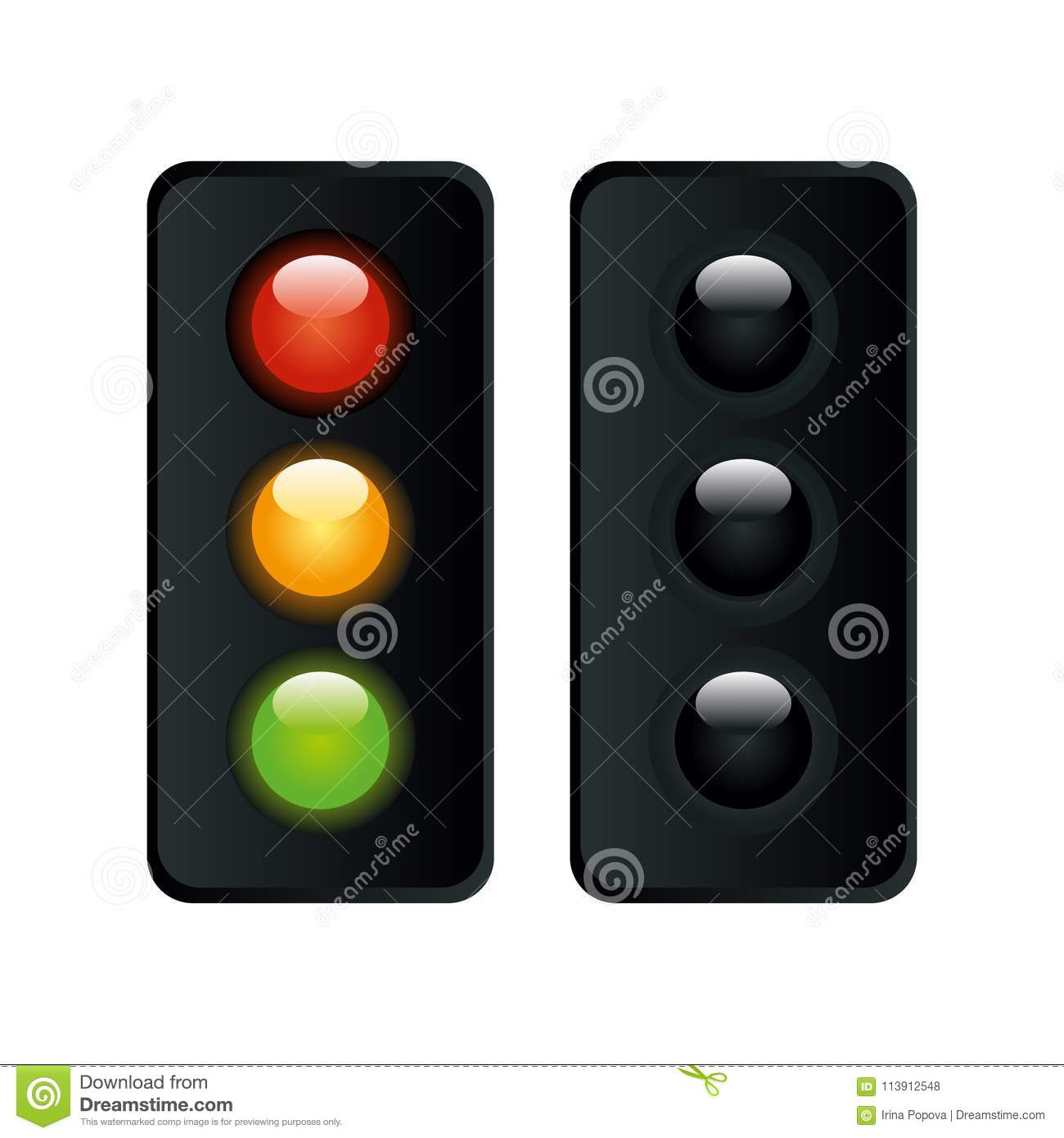 Download Traffic Lights In Two Modes Vector Stock Vector   Illustration Of  Order, Color: