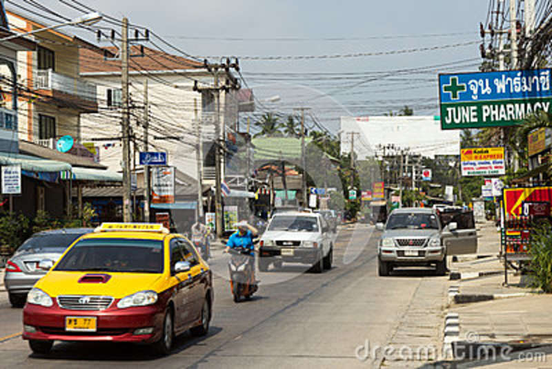 Traffic On The Main Road On Koh Samui Editorial Stock Image