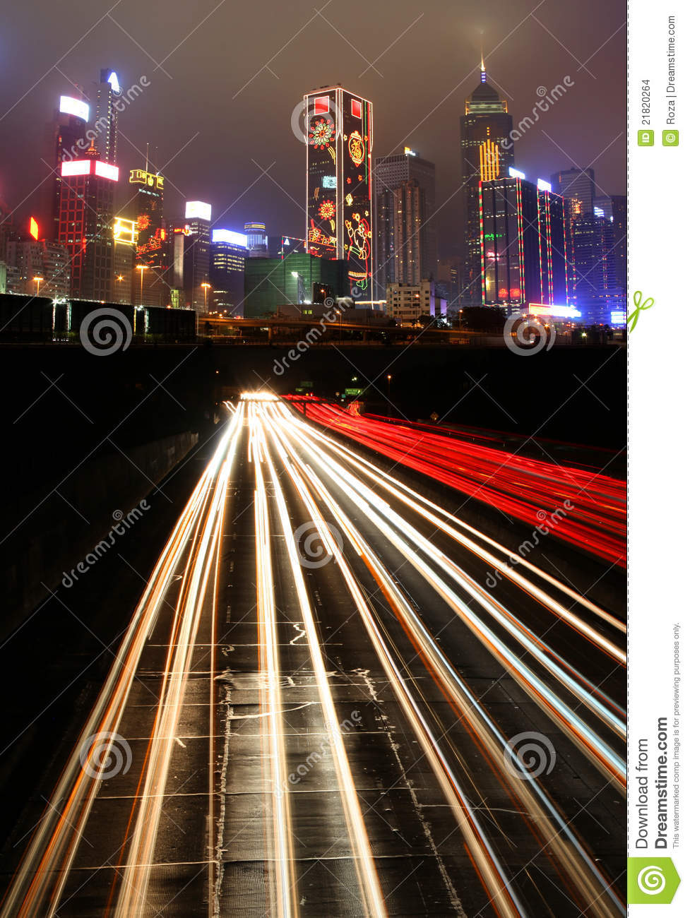 Download Traffic At Night In Urban City Stock Photo - Image of city, architecture: 21820264