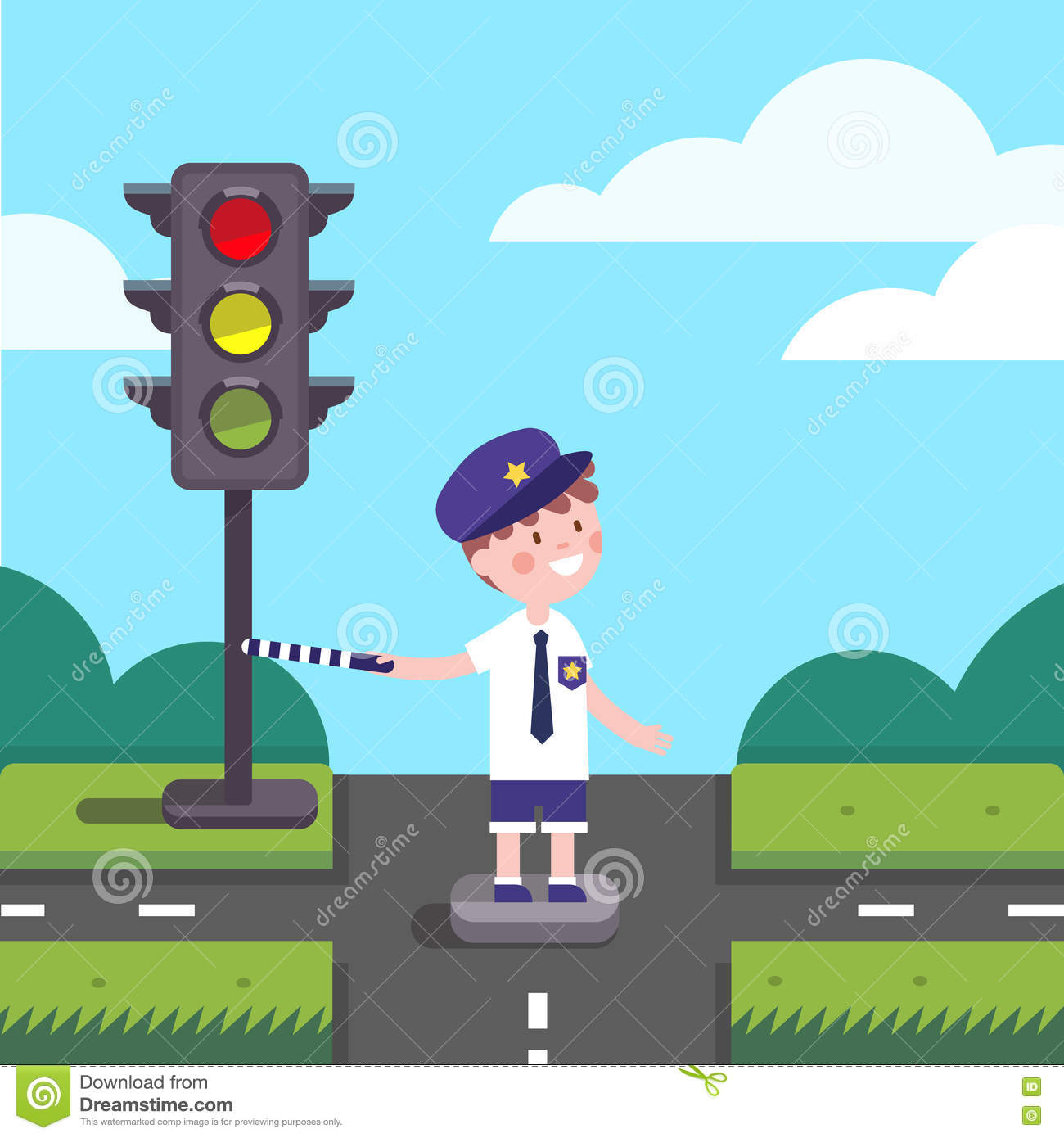 Traffic Officer Cop Kid Working On Road Crossing Stock