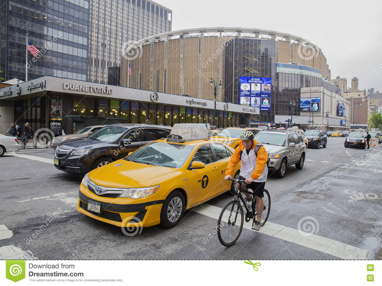 Traffic Outside Madison Square Garden New York City Editorial