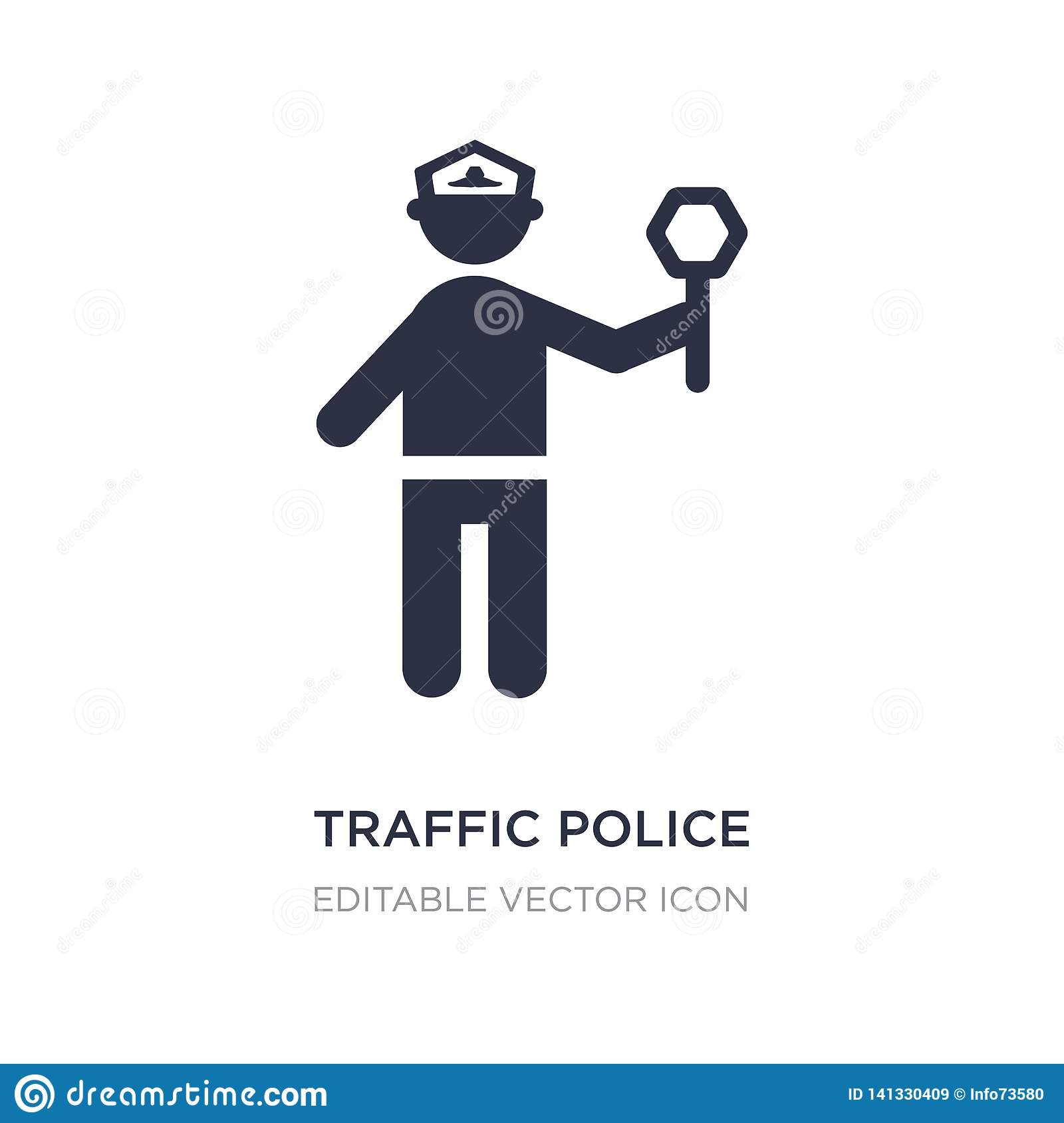 traffic police icon on white background. Simple element illustration from People concept